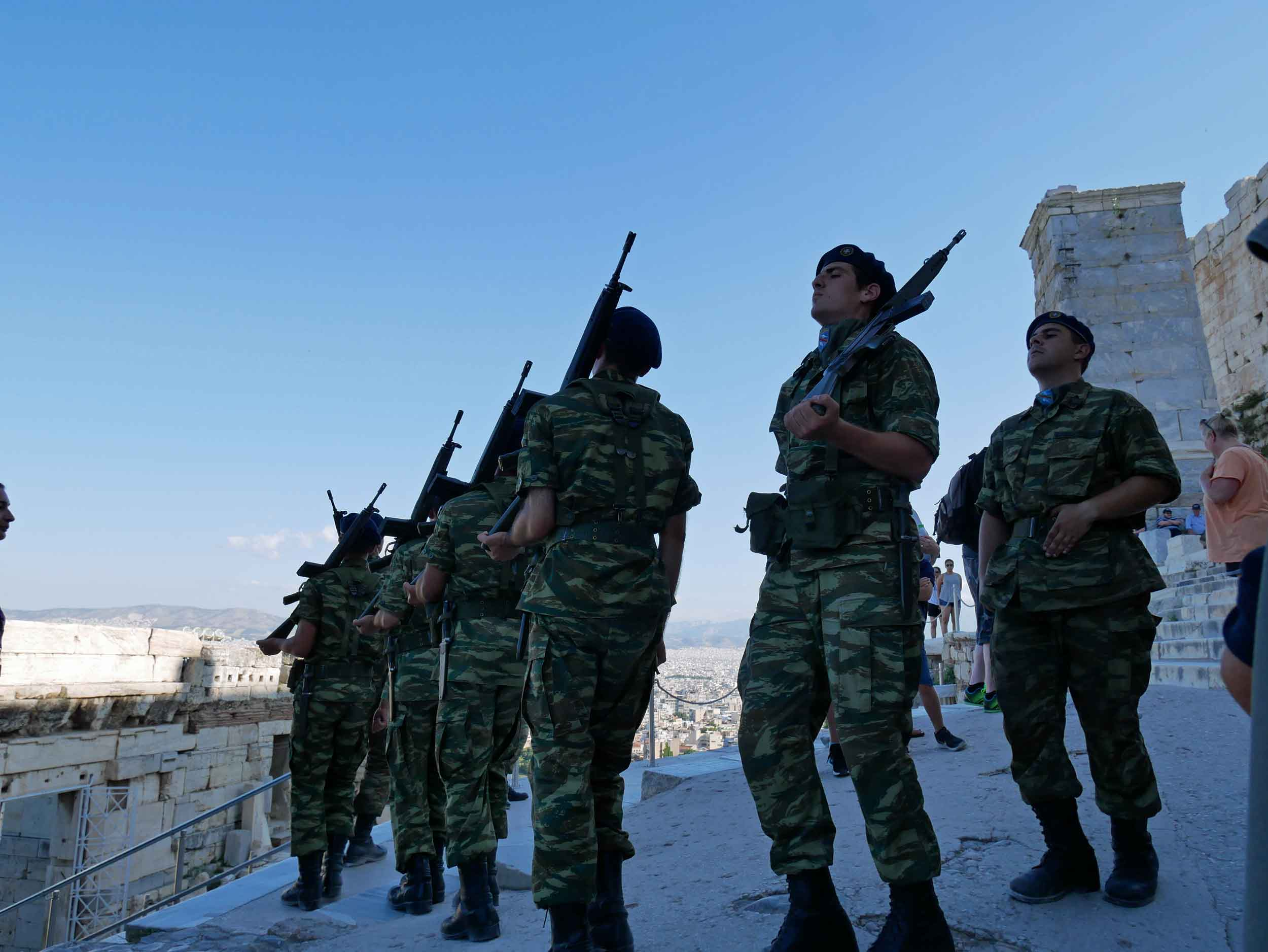 Greek army soldiers at the Acropolis