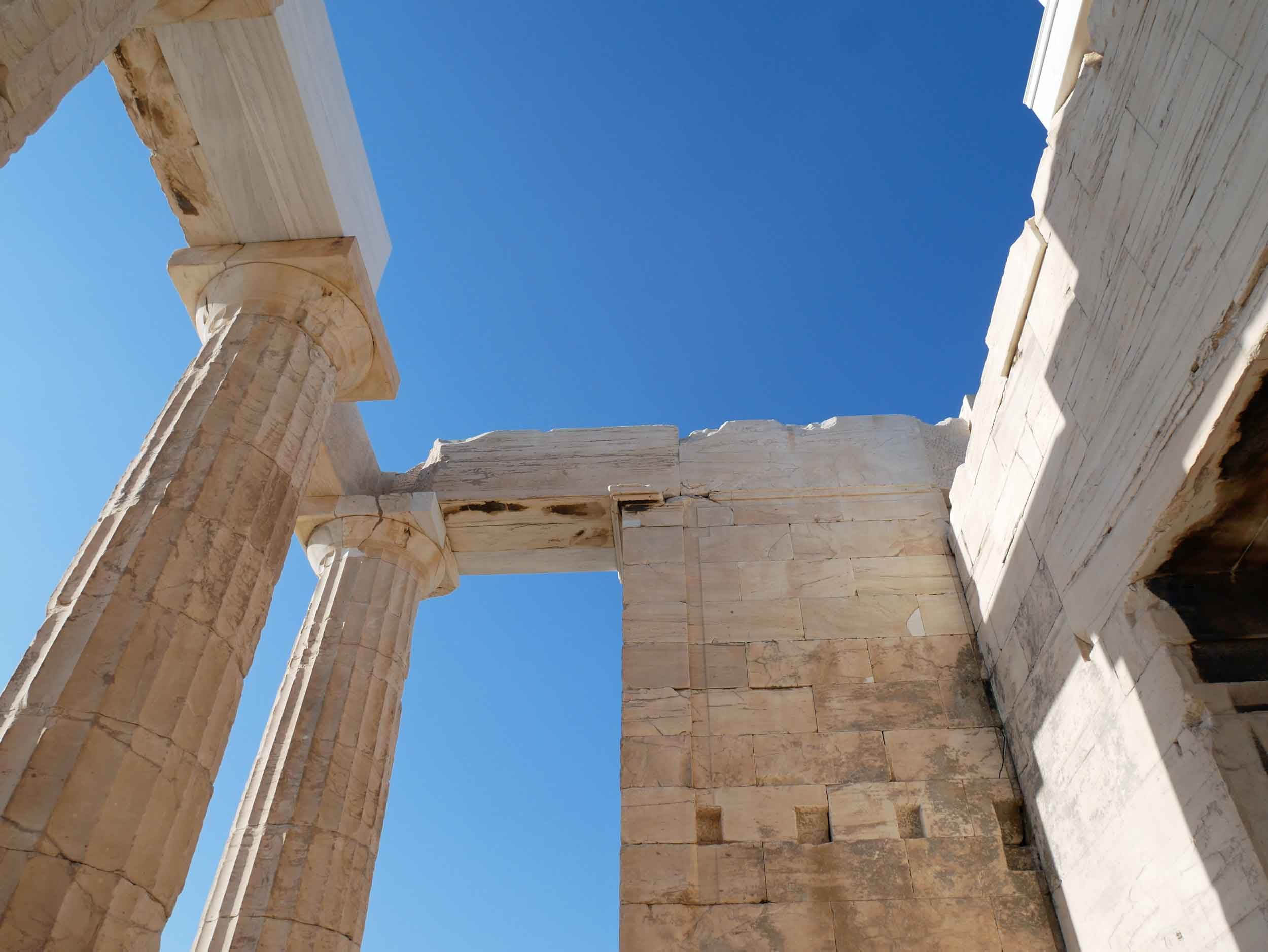Interior view of Erechtheion, named after the demi-god Erechtheus, the mythical Athenian king, was conceived as a suitable structure to house the ancient wooden cult statue of Athena.