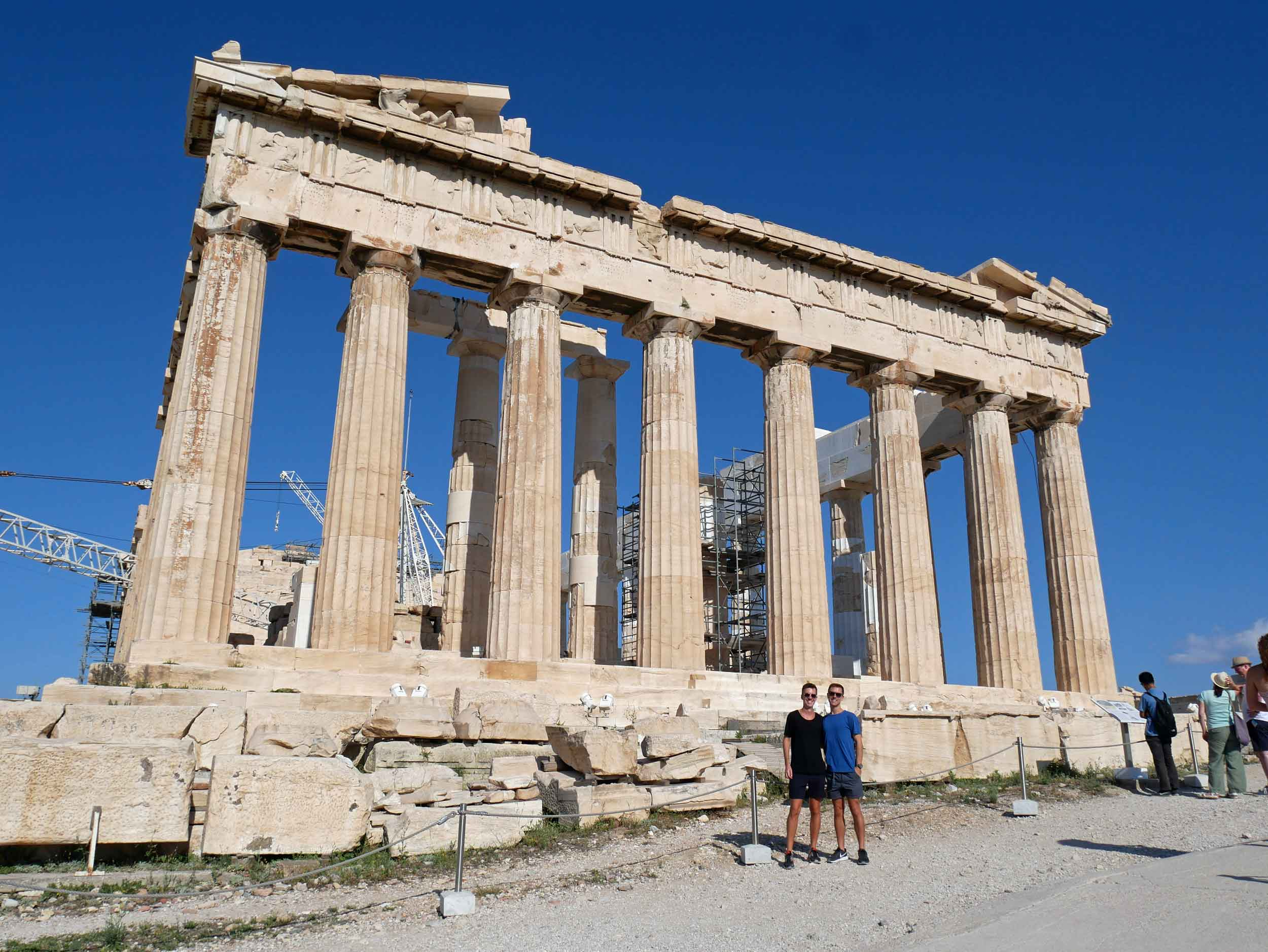 The Parthenon's massive foundations were made of limestone while its columns were made of Pentelic marble.