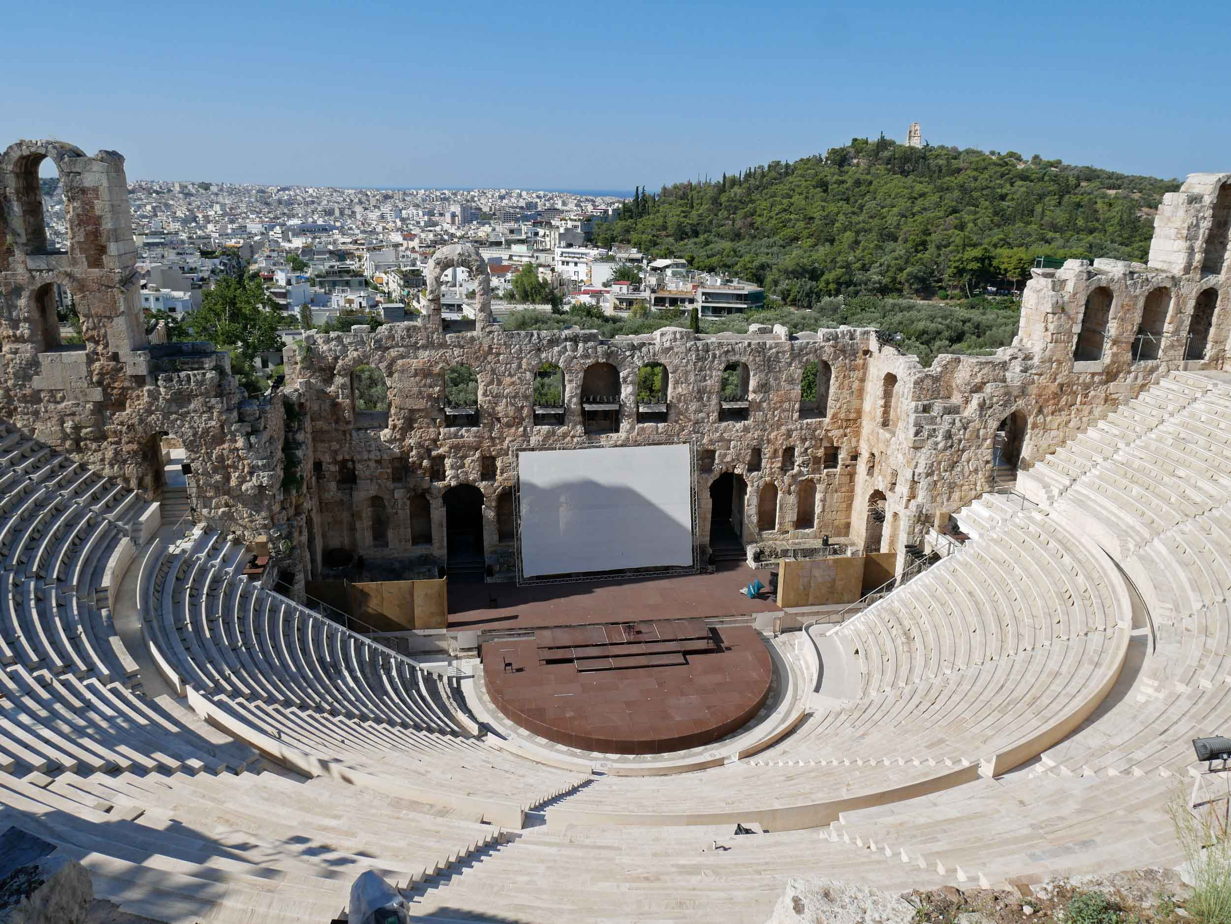 Close up view of the Ancient Odeum of Acropolis, the Theater of Herod Atticus, which was built in 161 AD and restored in the 1950s. Since then it has been the main venue of the Athens Festival which runs from May through October each year, featuring a variety of acclaimed Greek as well as International performances.