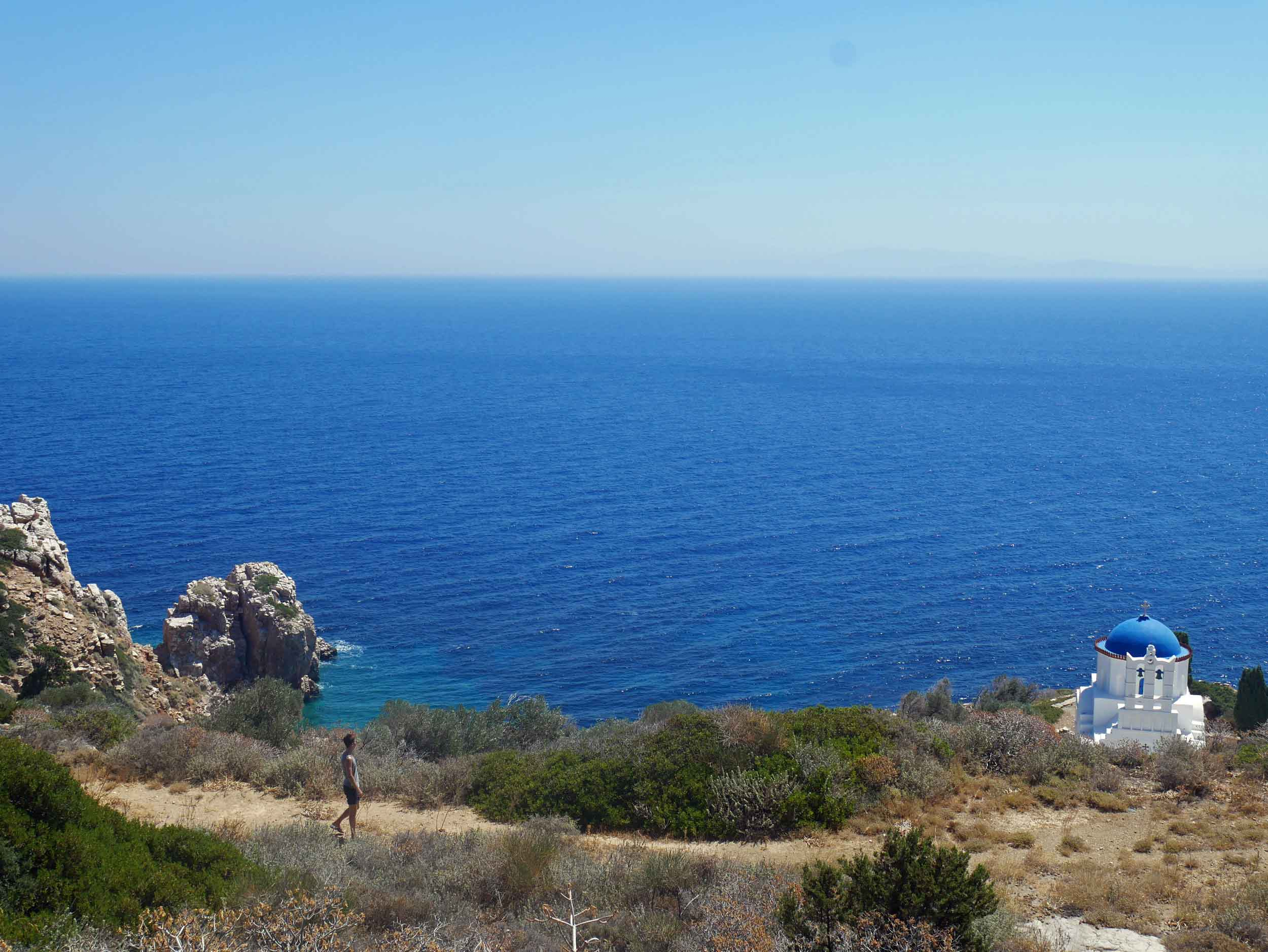 Walking to Panagia Poulati, we couldn't help but marvel at the church's blue and white.