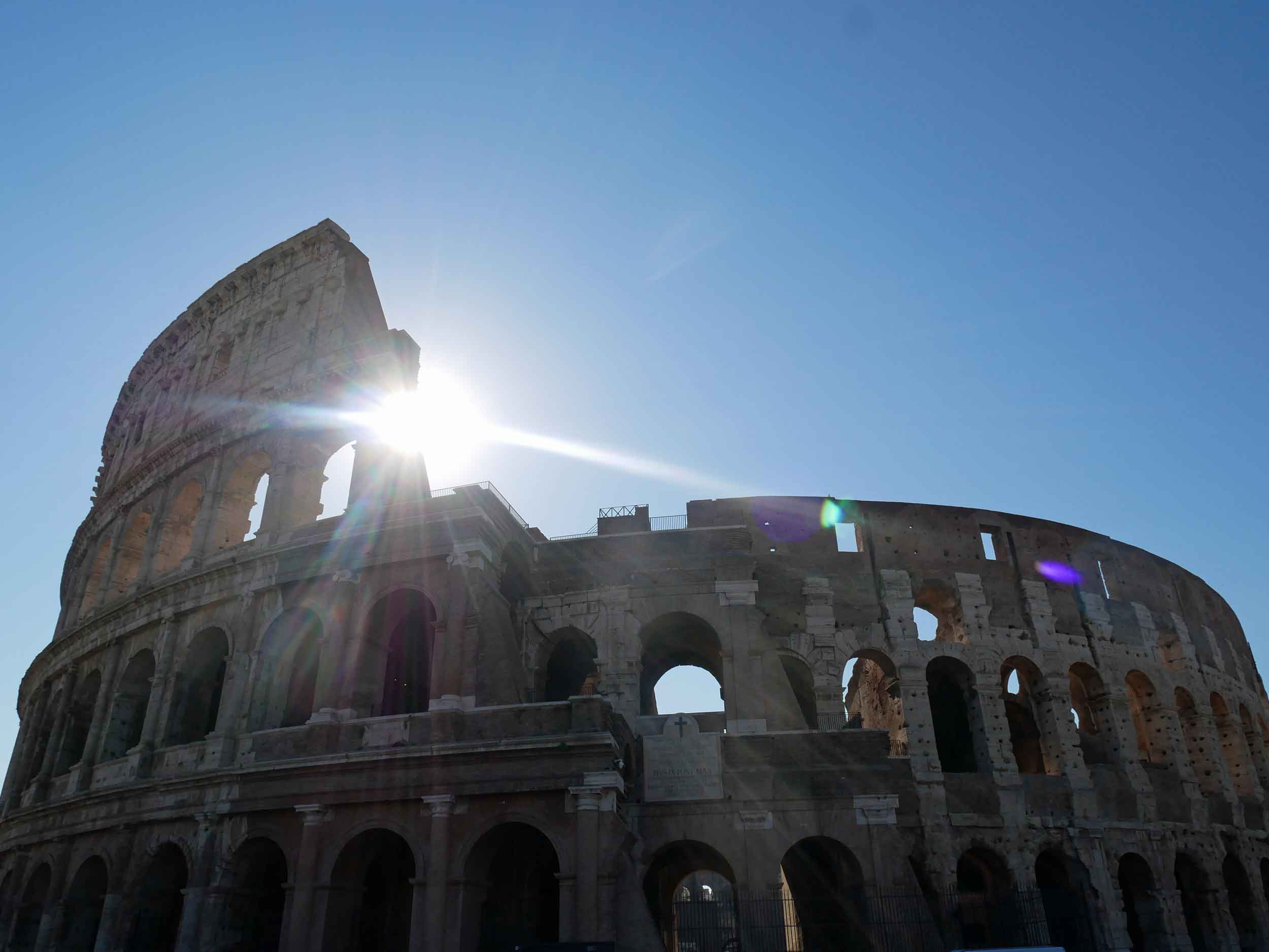 Up early to beat the crowds (and heat), the rising sun was a beautiful backdrop to Rome's ancient Colosseum (July 13).