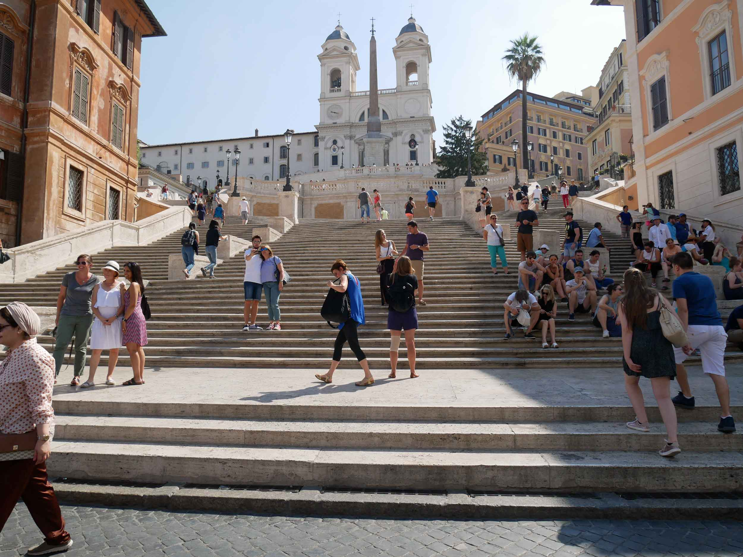 The next morning, we climbed the city's famed Spanish Steps along with many other tourists (July 14).