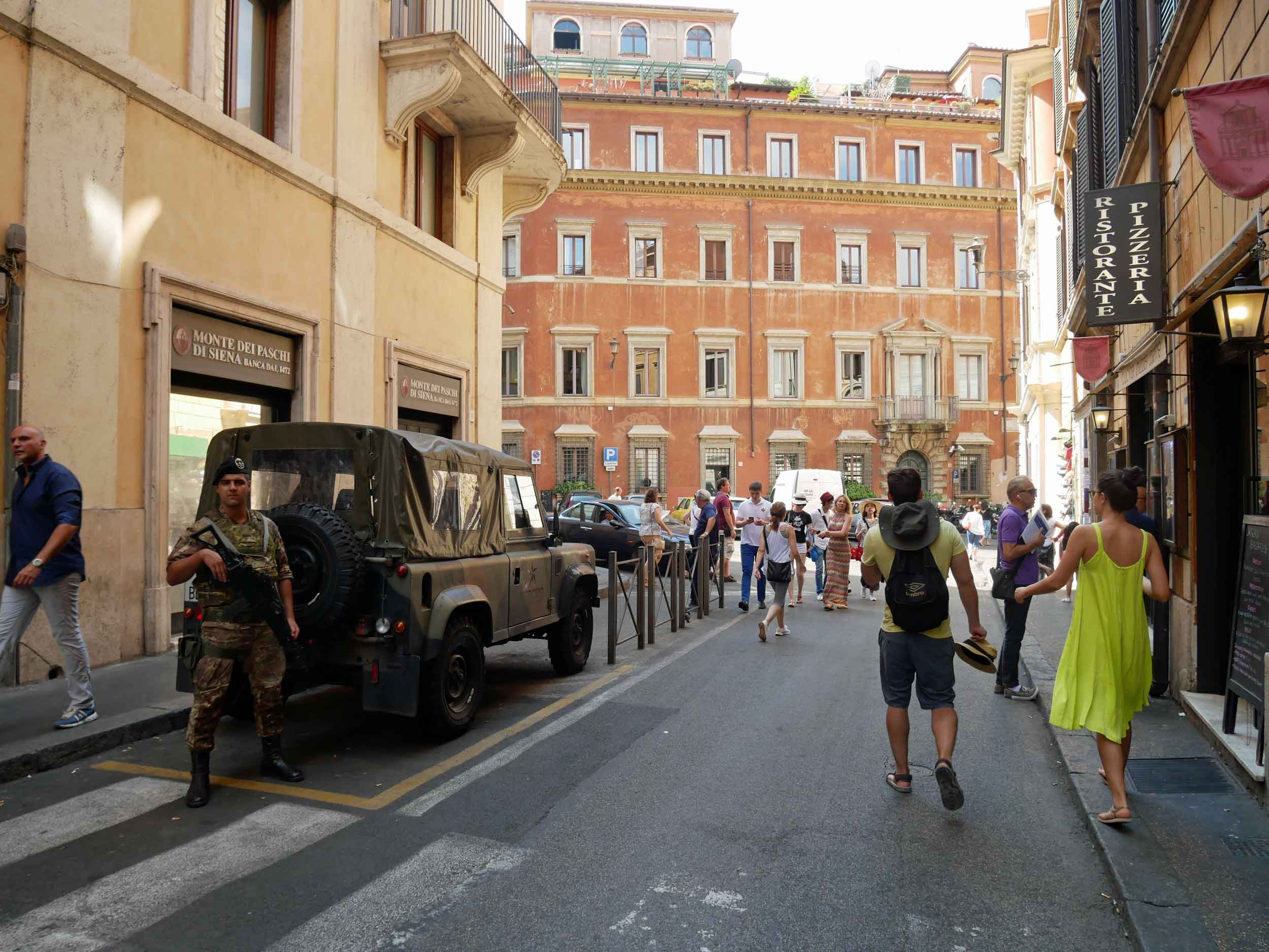 A common sight given the unfortunate events of today's world, Italian military lined the streets along the city's tourist zones.