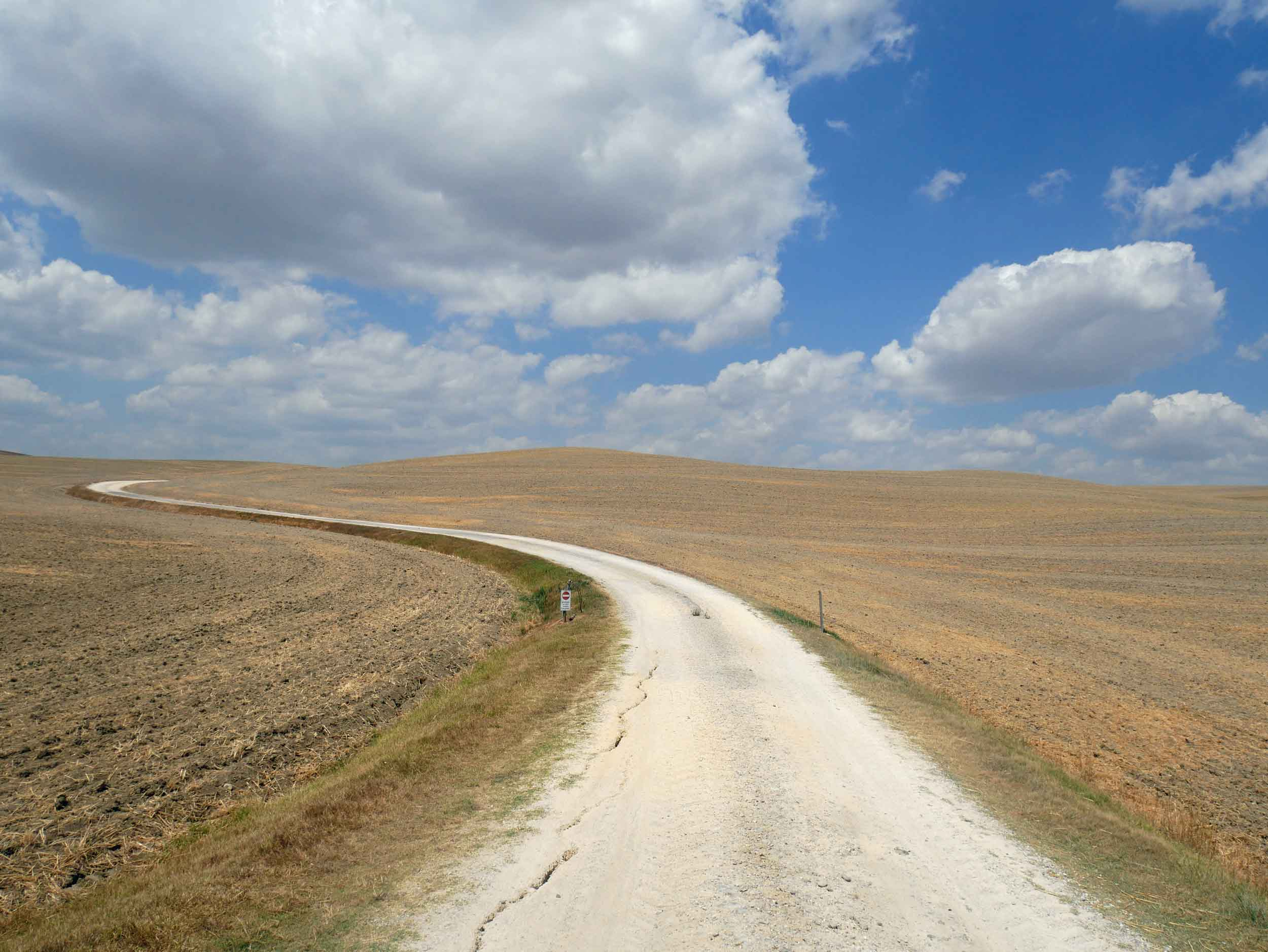 Dusty roads cut through dried-up fields along our route through Val d'Orcia.