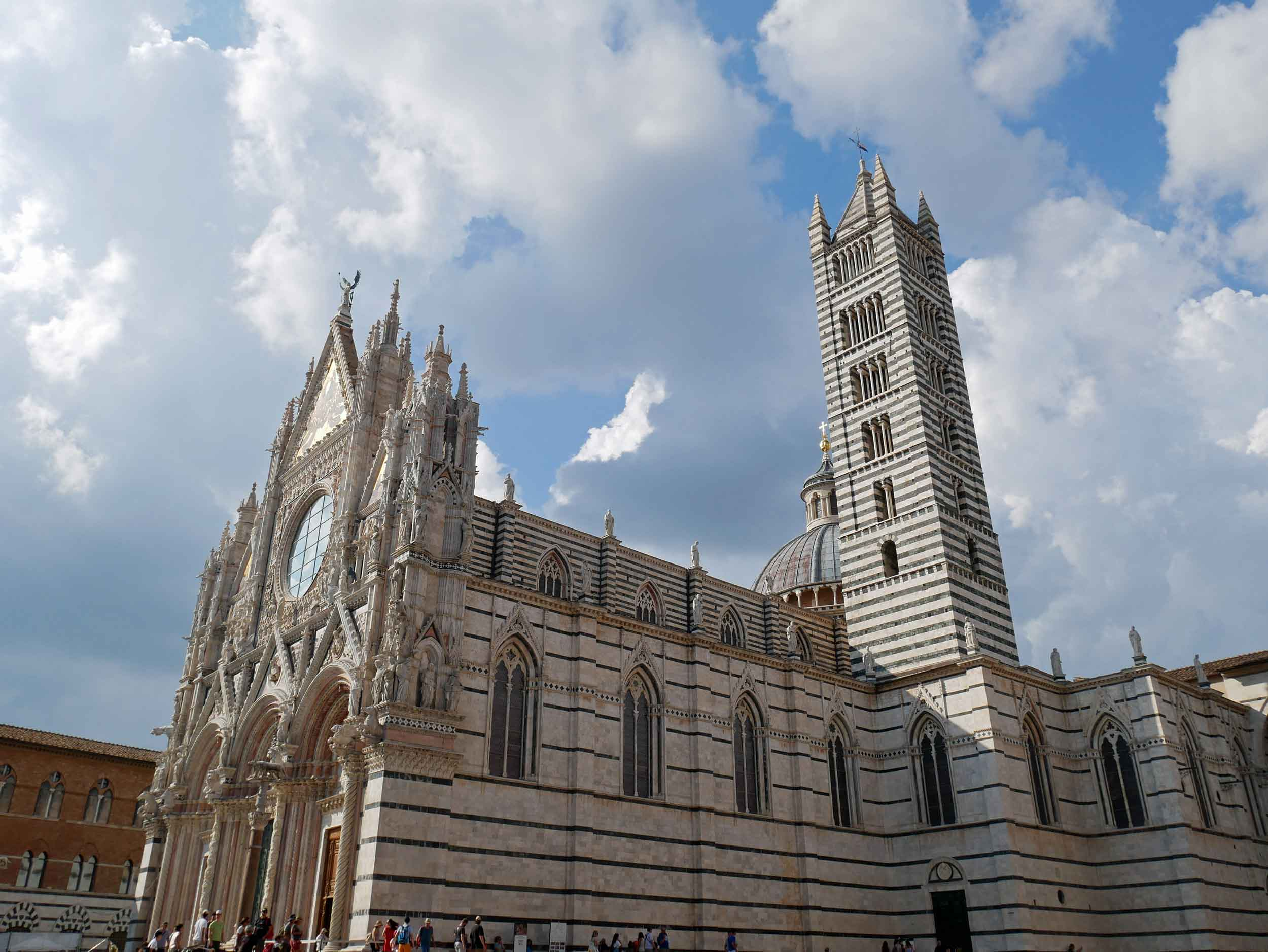 The town's green and white stripped marble Duomo is from the 1200s.