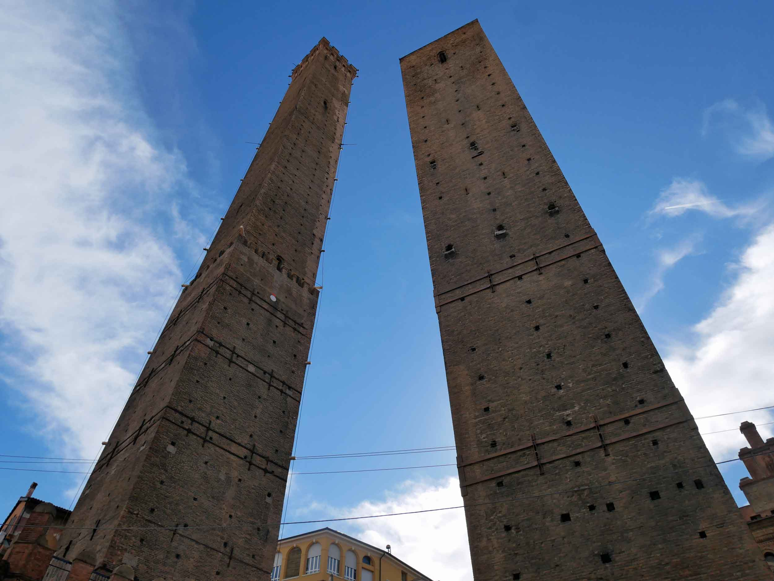 Bologna was once home to many towers used by wealthy families for defense, and these are two famous leftovers, one with a distinct lean.