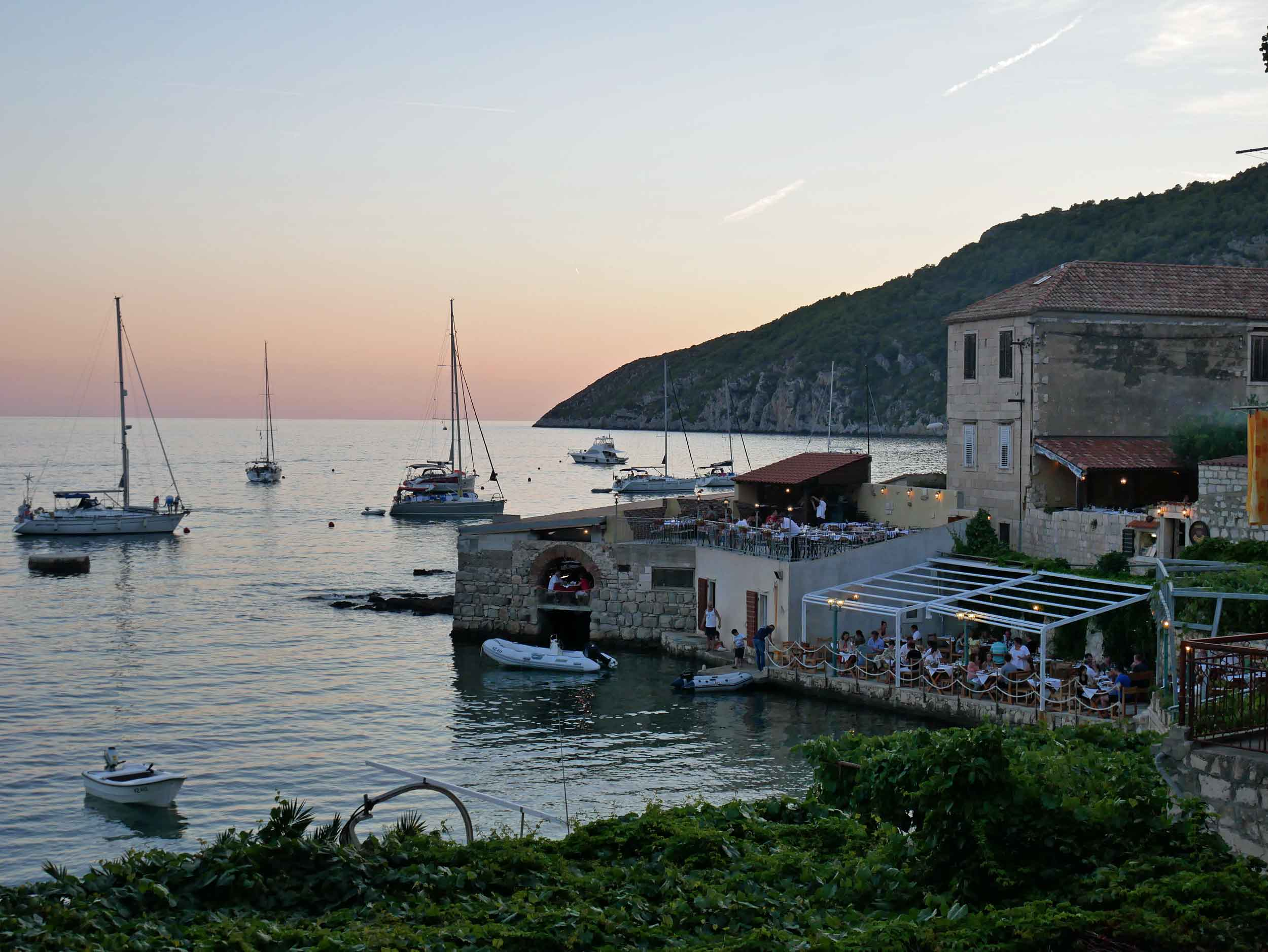Sunsets over the bay turned this old Croatian fishing village orange.