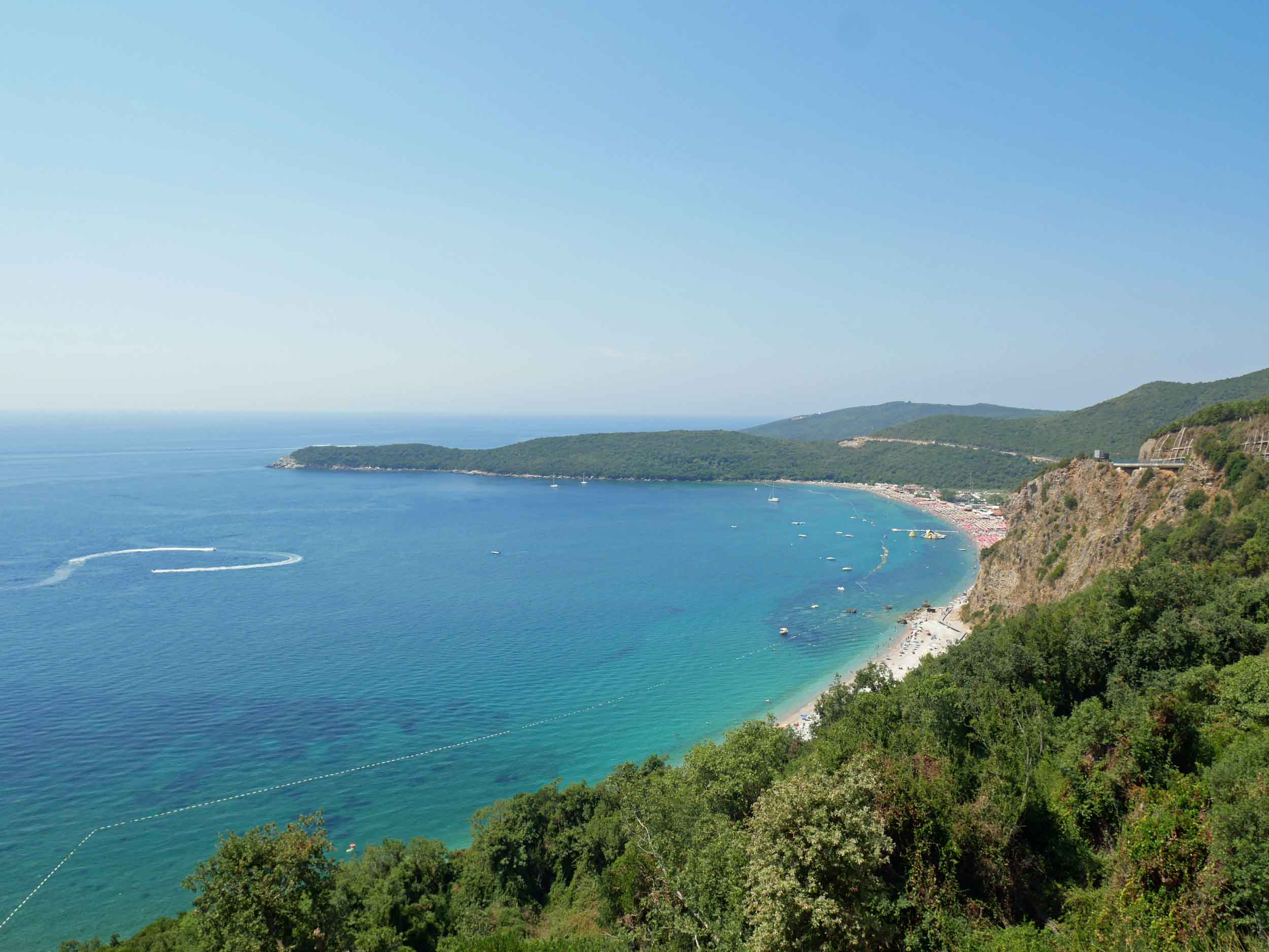 The cliffside views overlooking Montenegro's famous Jaz Beach (Aug 8).