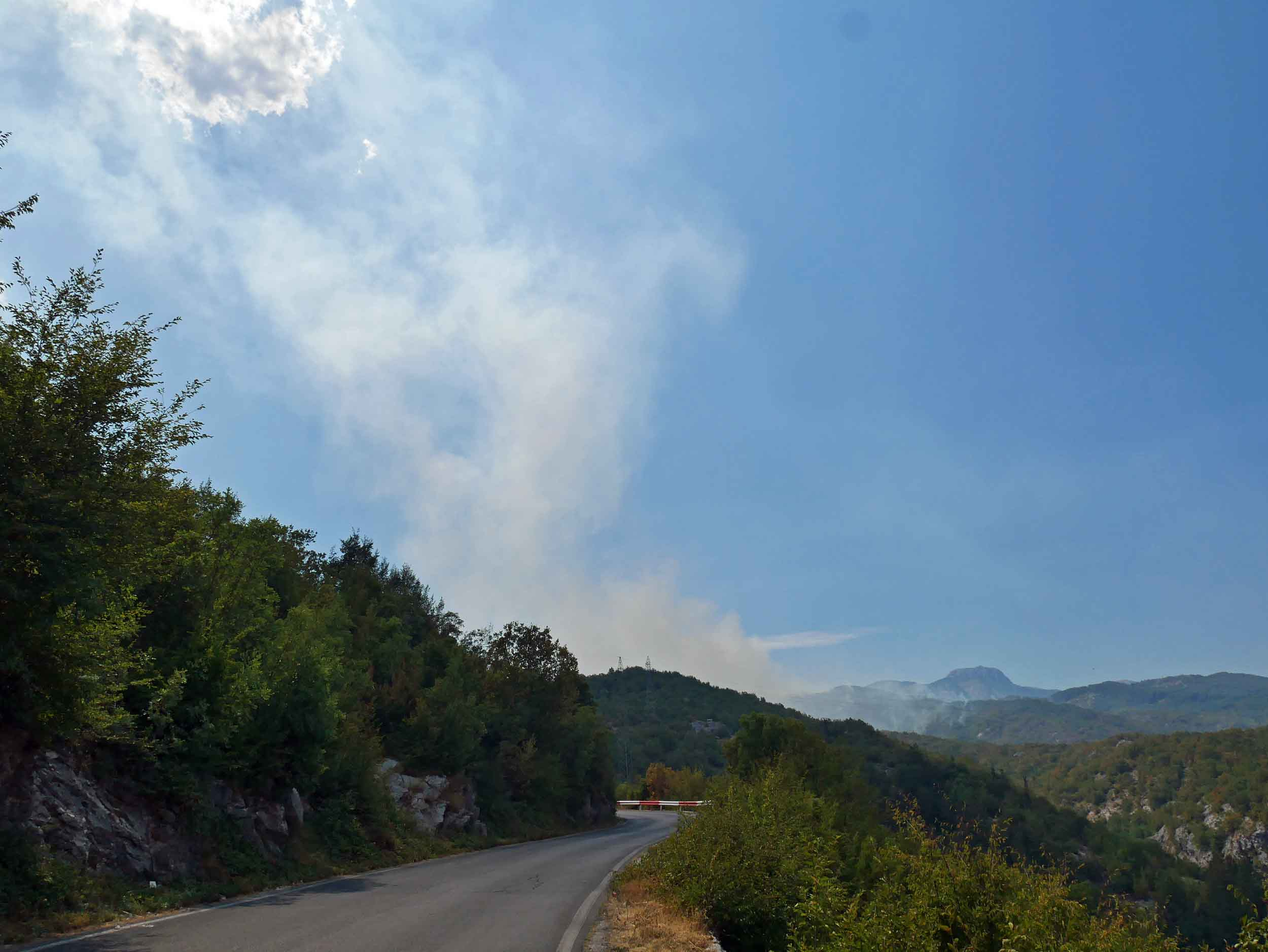 From Montenegro's coast, we drove up into the interior near the former capital of Cetinje, which was surrounded by burning forest and smokey hills because of drought and heat.