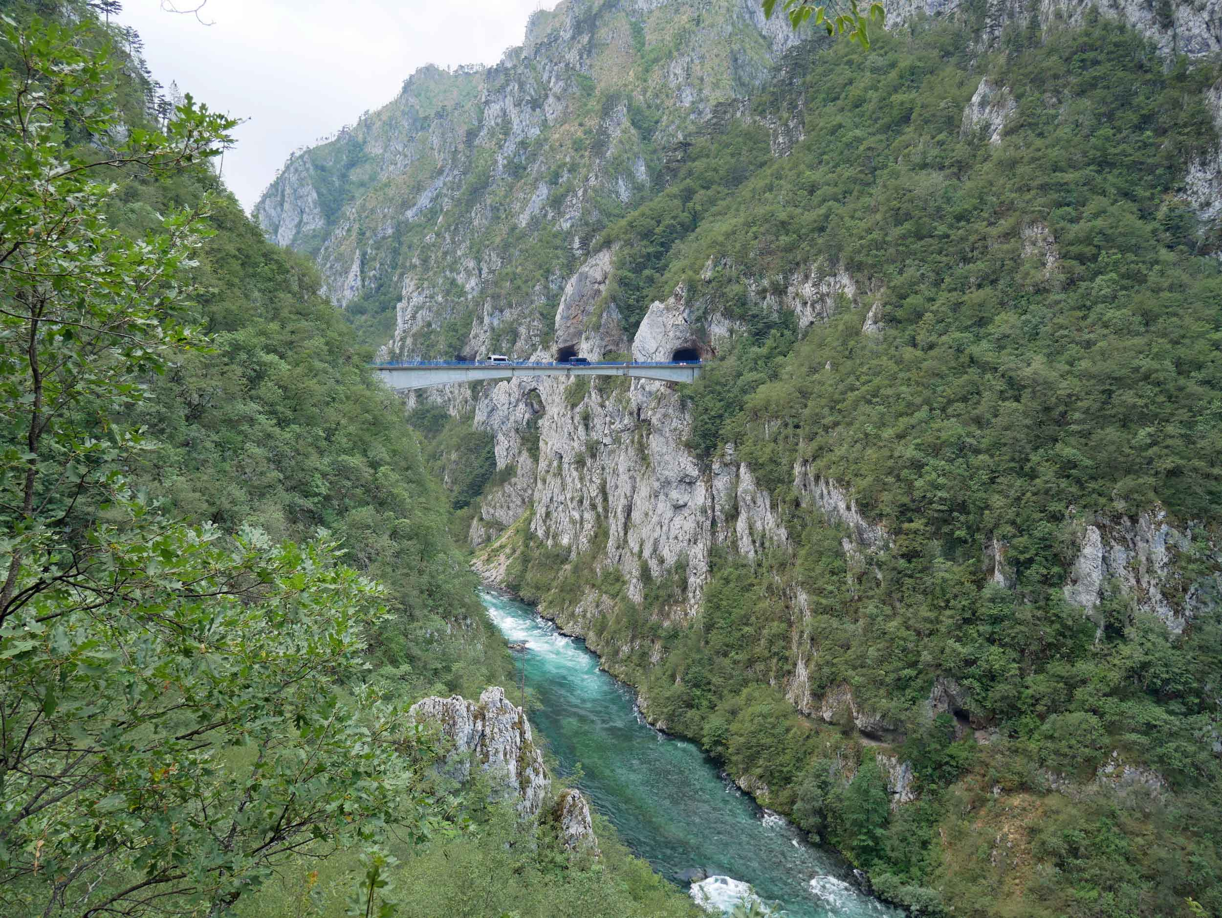 As we made our way to Plužine, the roads became more narrow and un-guarded, hanging on to the cliffs high above the Piva River below.