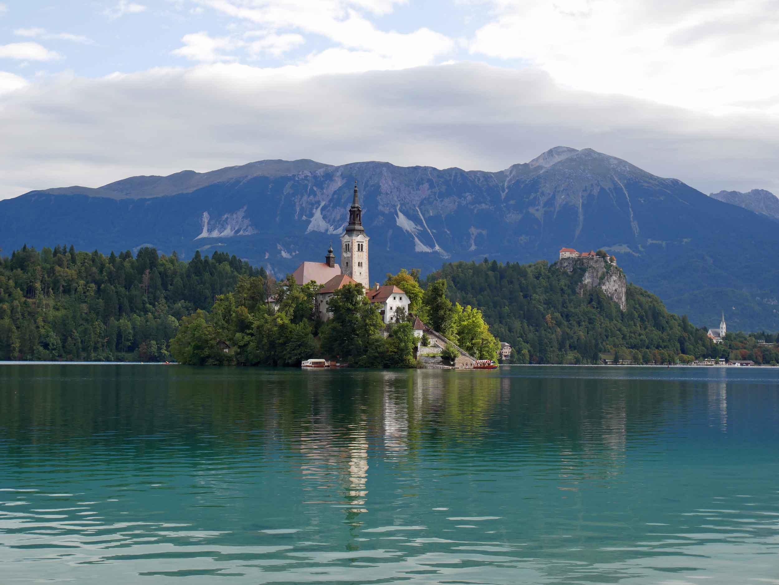Sunday provided clearer skies and a fairytale view of Lake Bled, set amidst the Julian Alps (Aug 20).