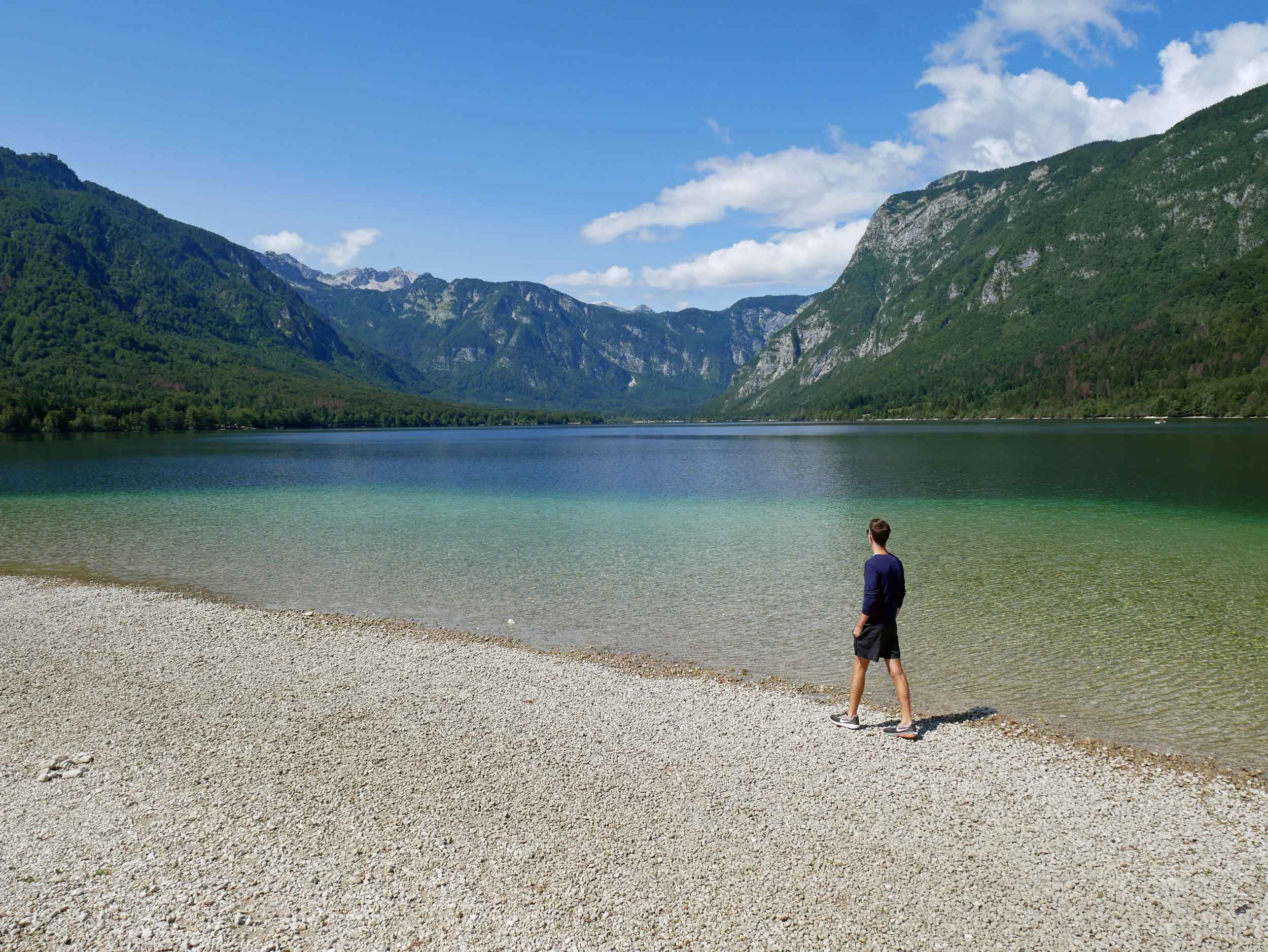We spent the day at Slovenia's largest lake, Bohinj, which was active with kayaks, volleyball and cyclists.