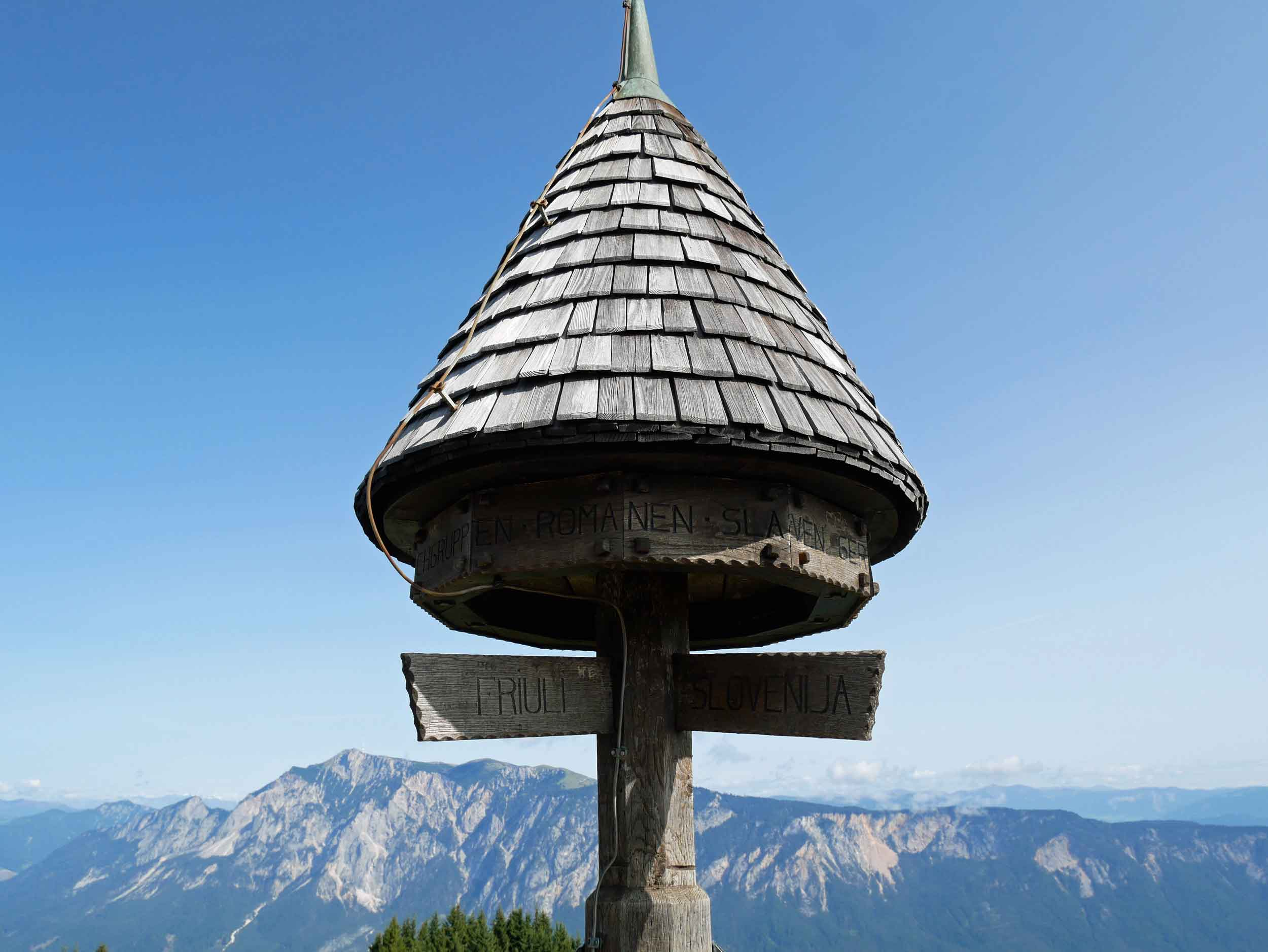 At the top of Tromeja was a marker defining the borders between Slovenia, Italy and Austria.