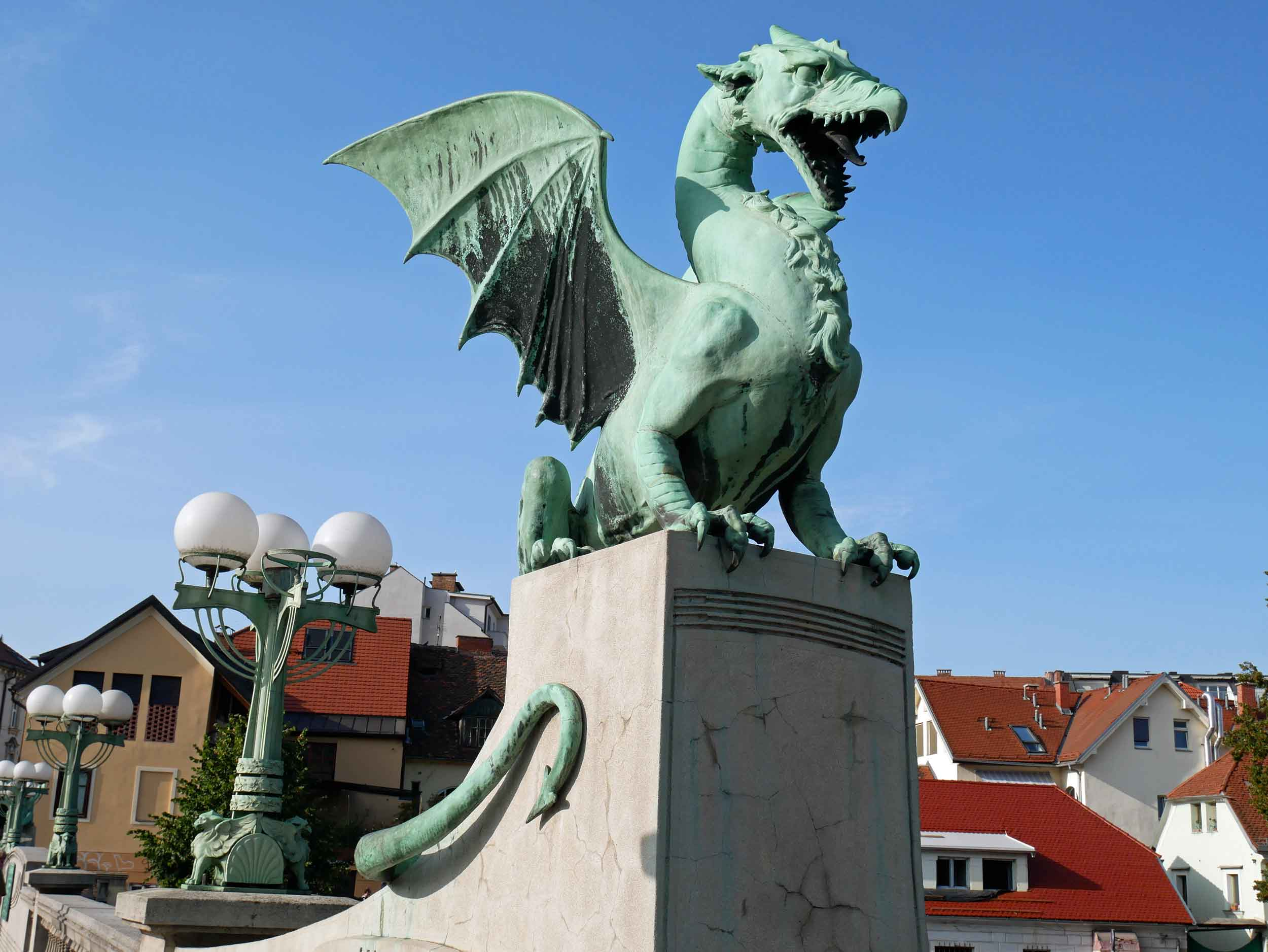 Crossing the Ljubljanica River, the city's stately Dragon Bridge was built in the early 1900s when Ljubljana was still ruled by the Austro-Hungarian monarchy.