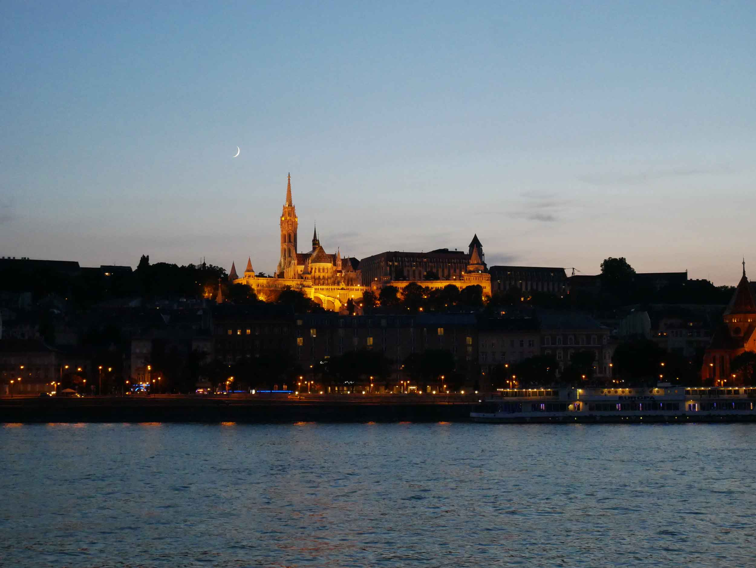 View of Fisherman's Bastion, located atop a hill on the Buda side of the Danube.