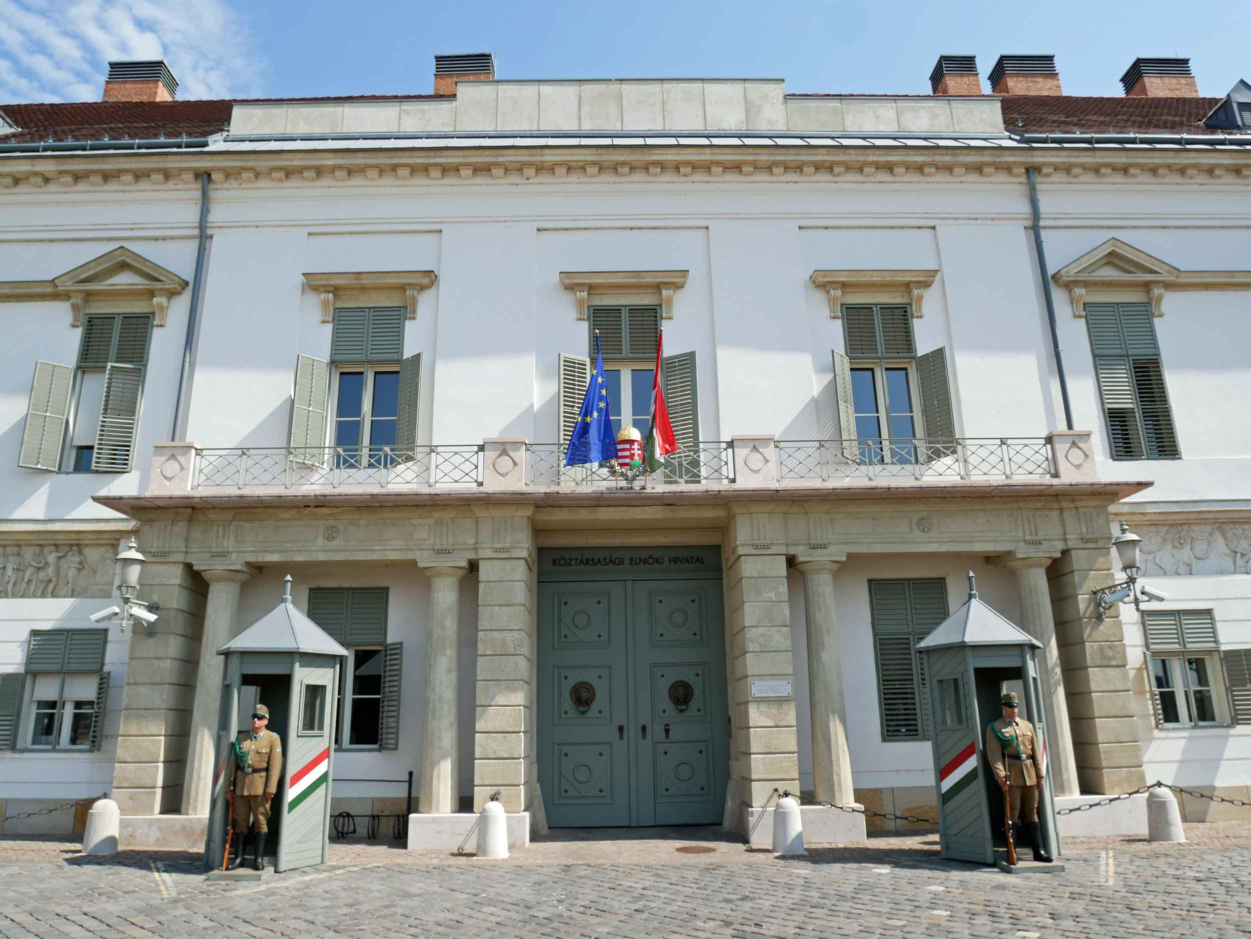 Sandor Palace, just north of Buda Castle, is the official (and more modest)residence of the President of Hungary.