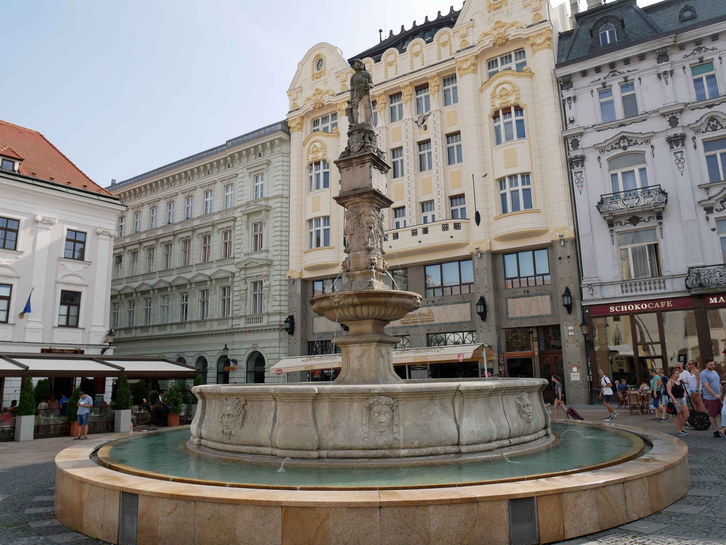 Maximilian's Fountain (aka Roland Fountain) is the most important fountain in Bratislava - and arguably in all of Slovakia – commissioned by the Royal Hungarian King Maximilian II in 1572 as part of a public water supply project.