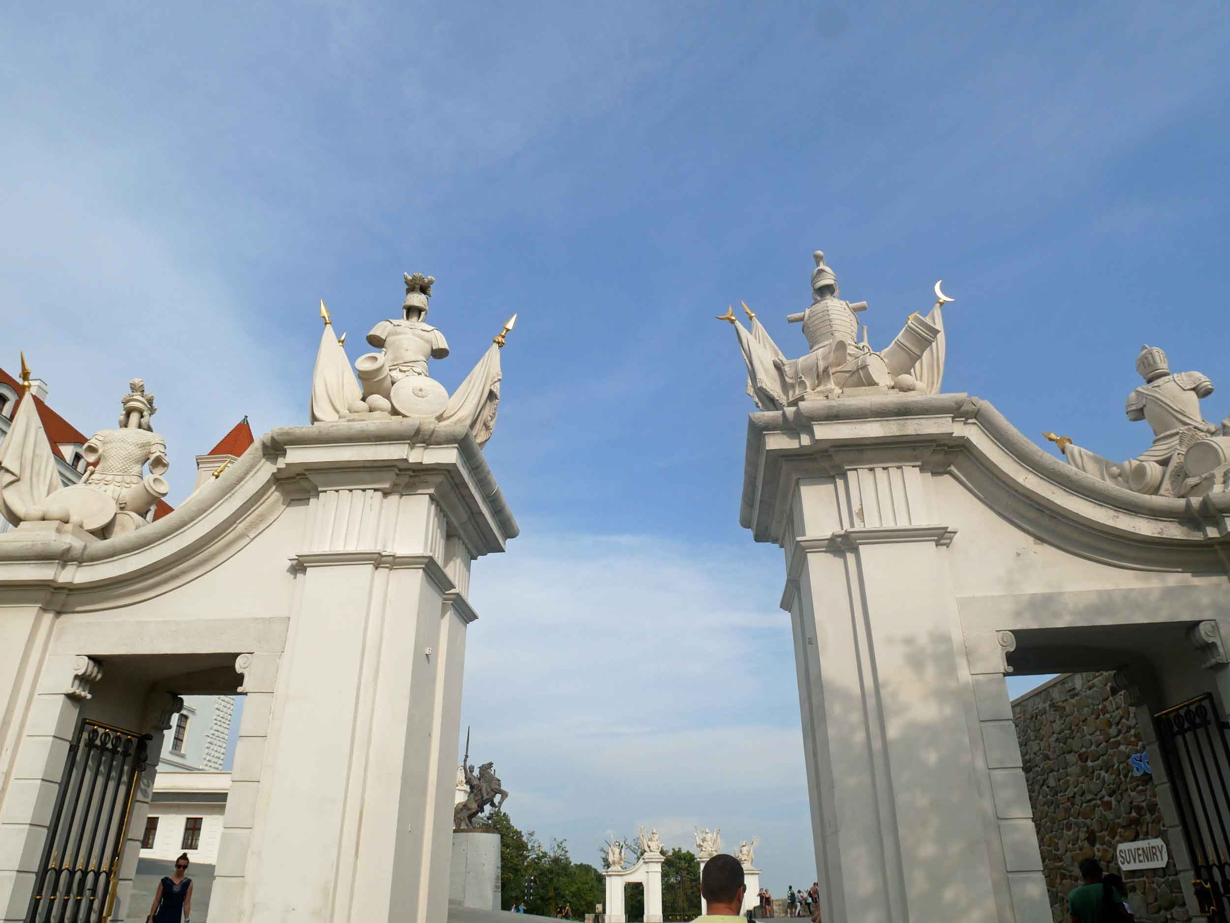 The area in front of the castle is called Yard of Honor and is bordered by two triumphal gates and guard houses of the imperial guard.