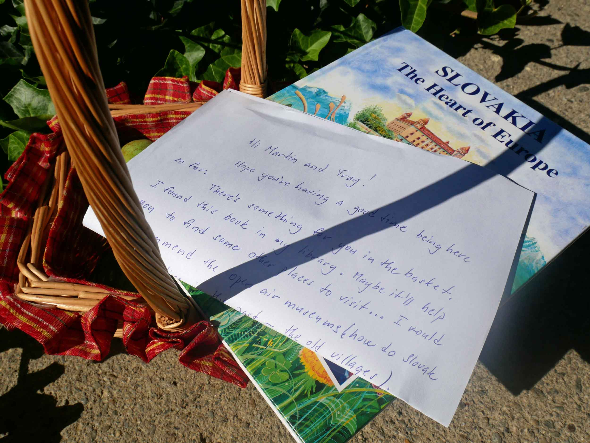 One morning, we found a basket of gifts from our Airbnb hosts - local pears and a book on the history of the country.