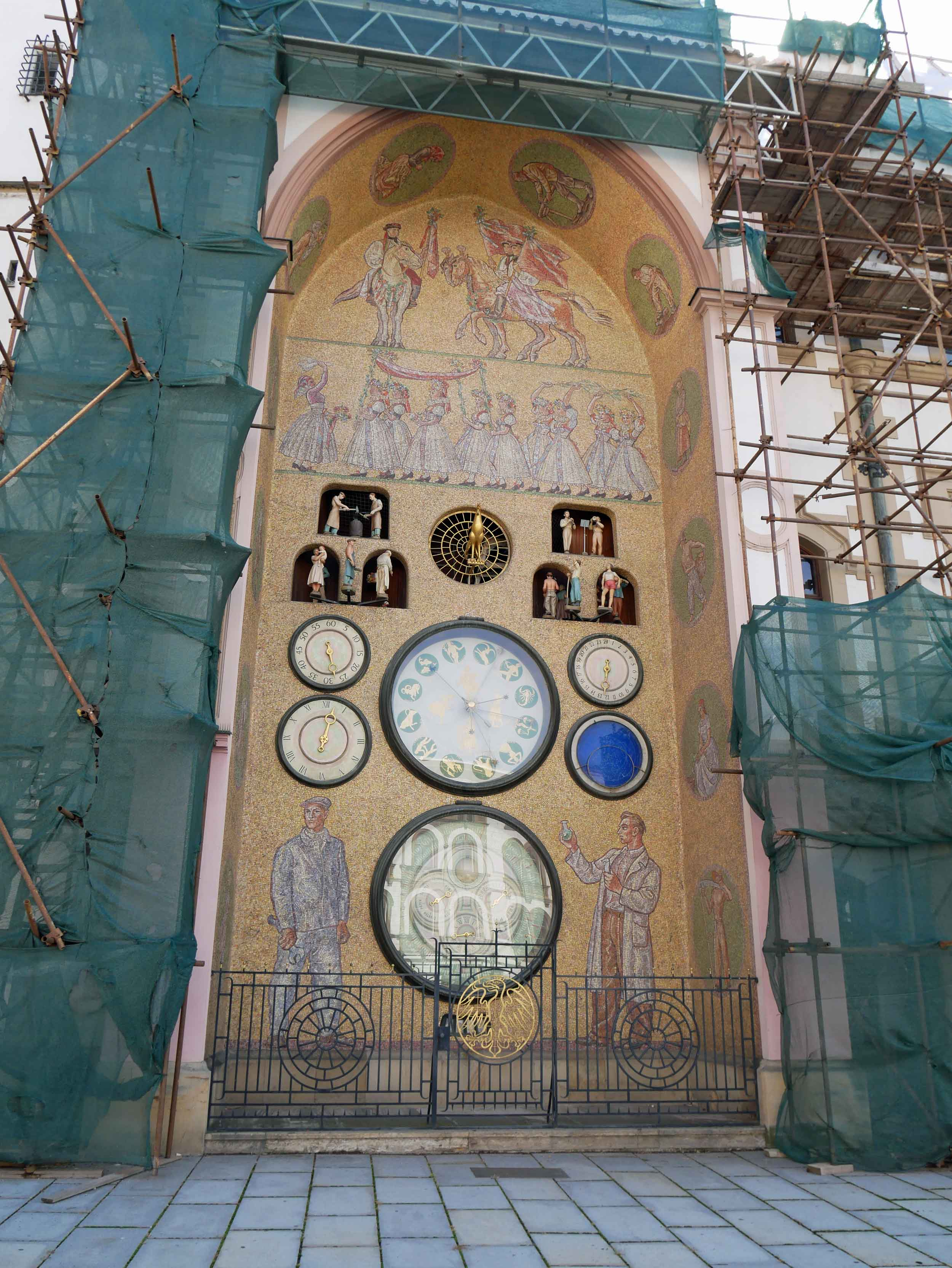 Olomouc's Astronomical Clock is quite different from it's sister clock in Prague - deemed the 'Communist Clock' for its Soviet era proletarians motif, Olomouc's original 15th century clock was destroyed by the Germans during WWII and rebuilt during communist rule.