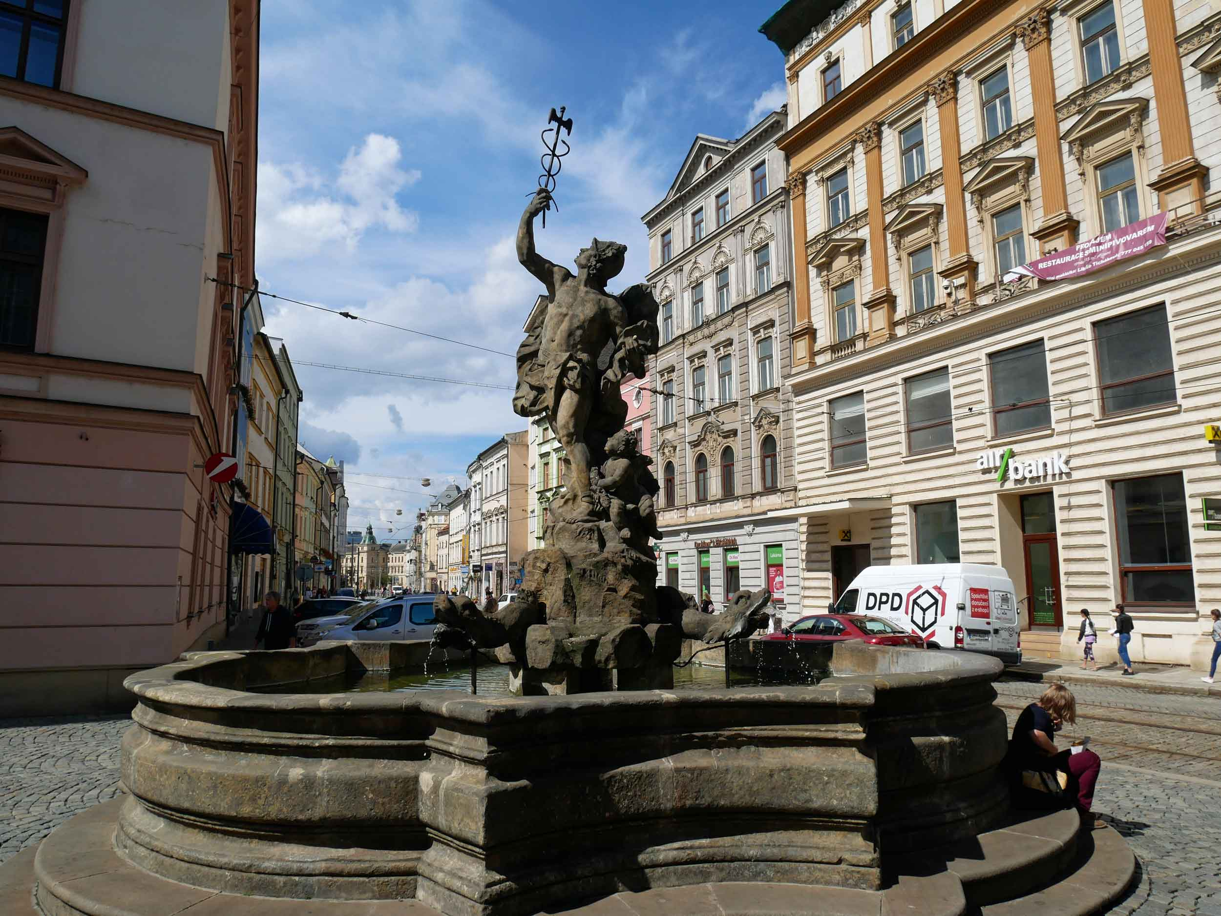 Beautiful Mercury Fountain (Merkurova kašna) was built in 1727 and one of several examples of Baroque fountains in Olomouc's historic centre.