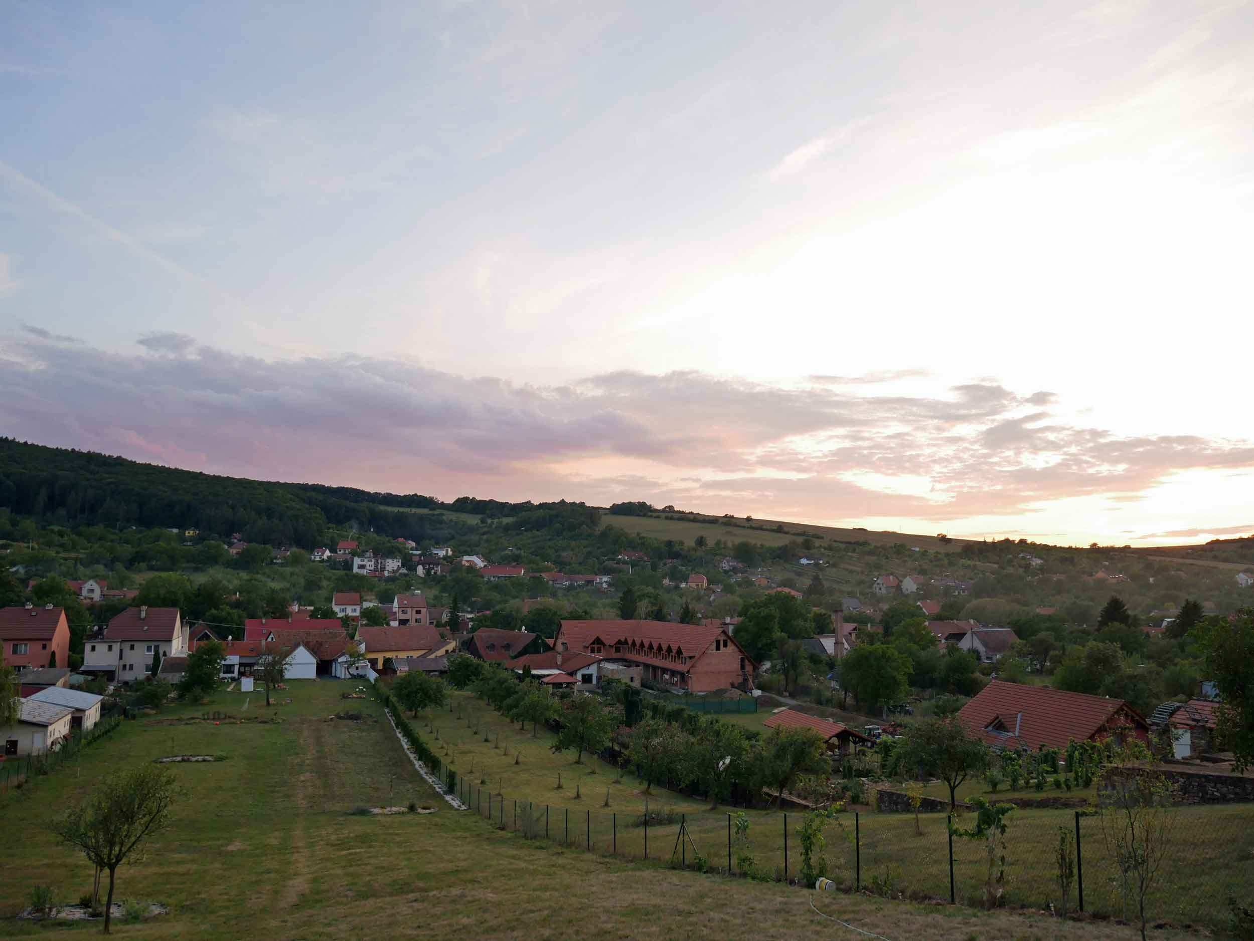 Sunset view from our cabin atop the rolling hills outside of Radějov, Czech Republic (Sept 5).