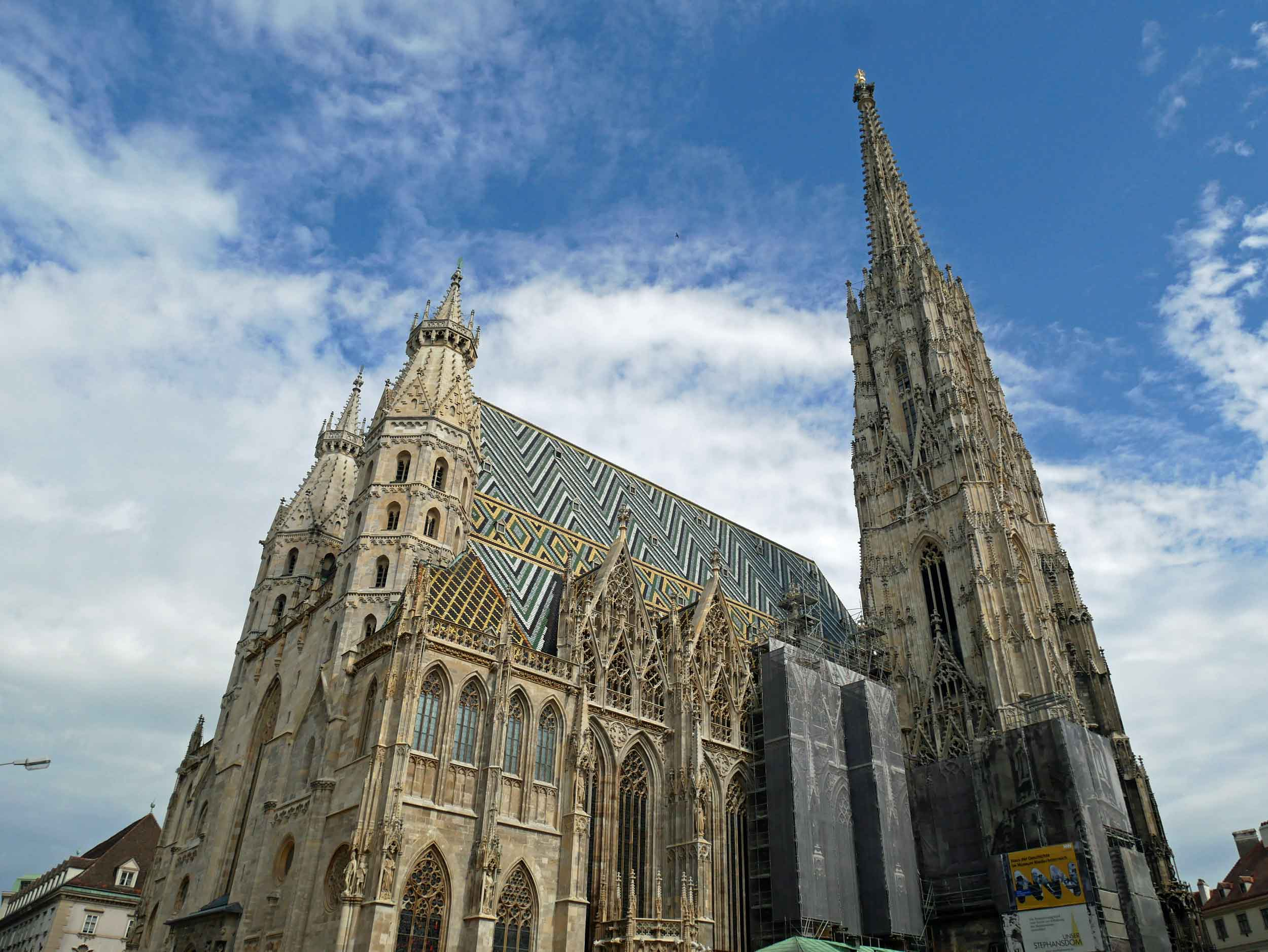 St. Stephen's Cathedral, the seat of the Archbishop of Vienna,is found in the city's old town – the tile work on the roof is awe-inspiring!
