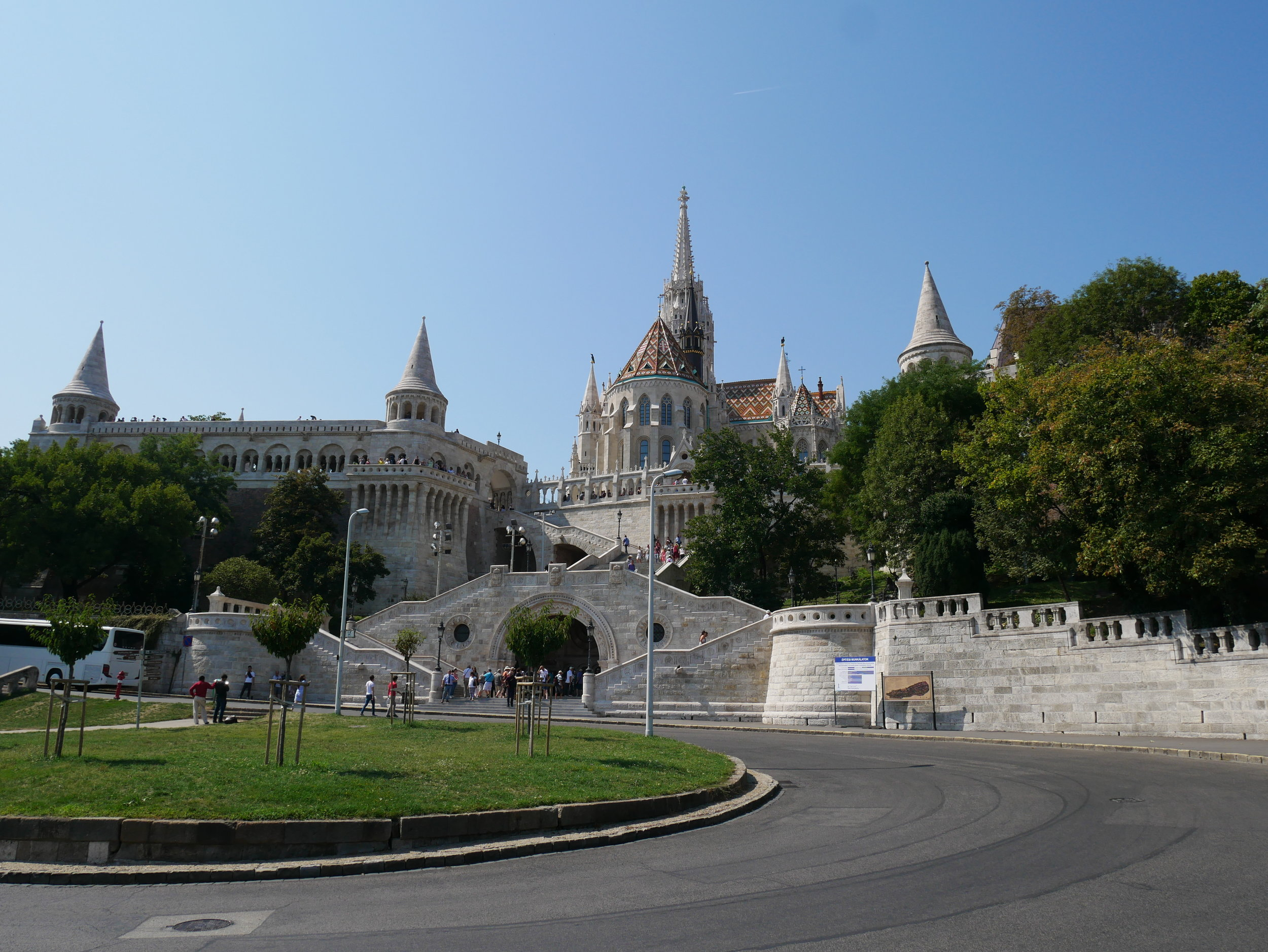 After climbing many stairs, we arrived at Fisherman's Bastion, a historic Buda terrace that overlooks the Danube.