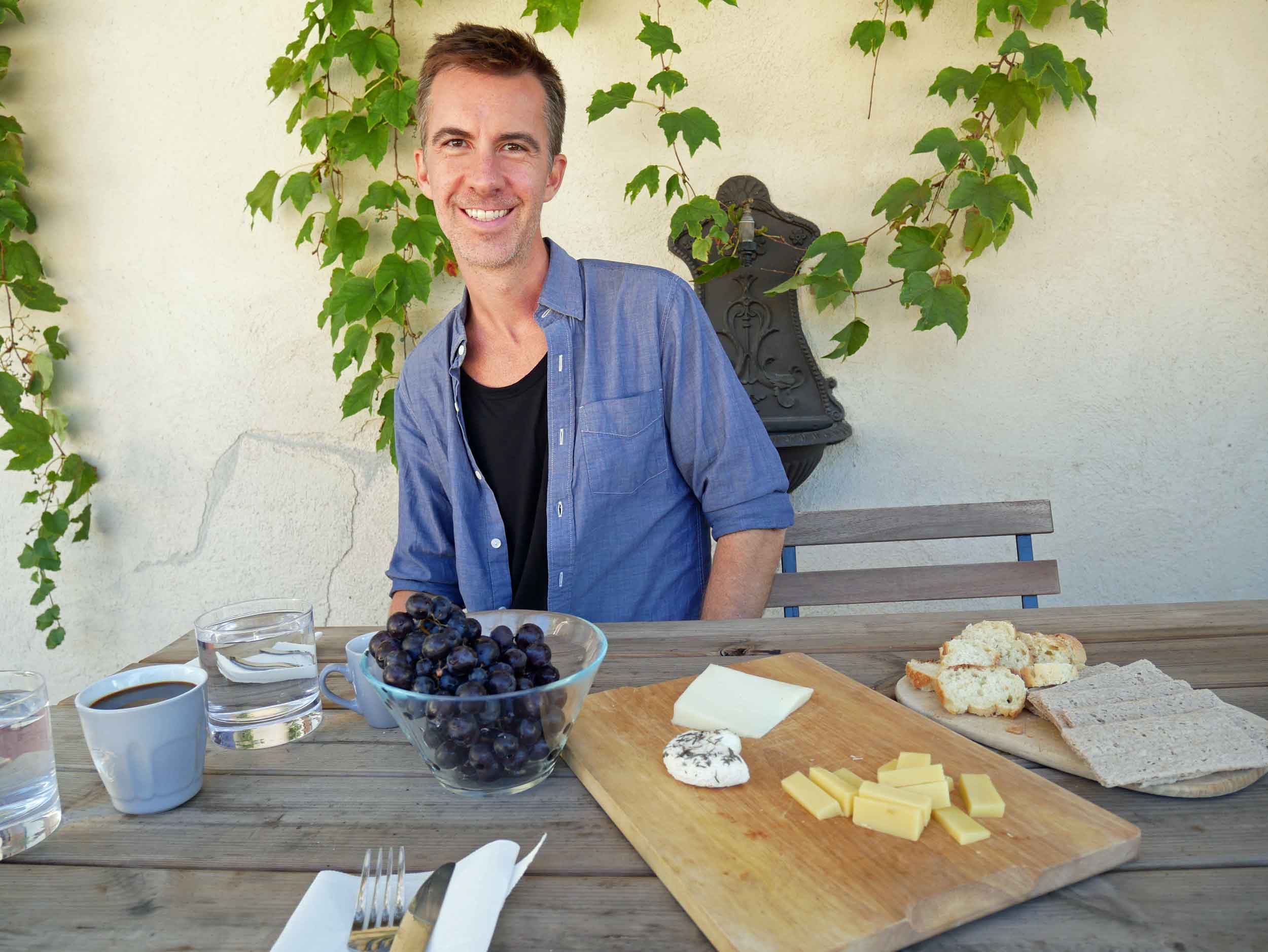 Ah, the beauty of a simple snack of local cheese and fresh grapes.
