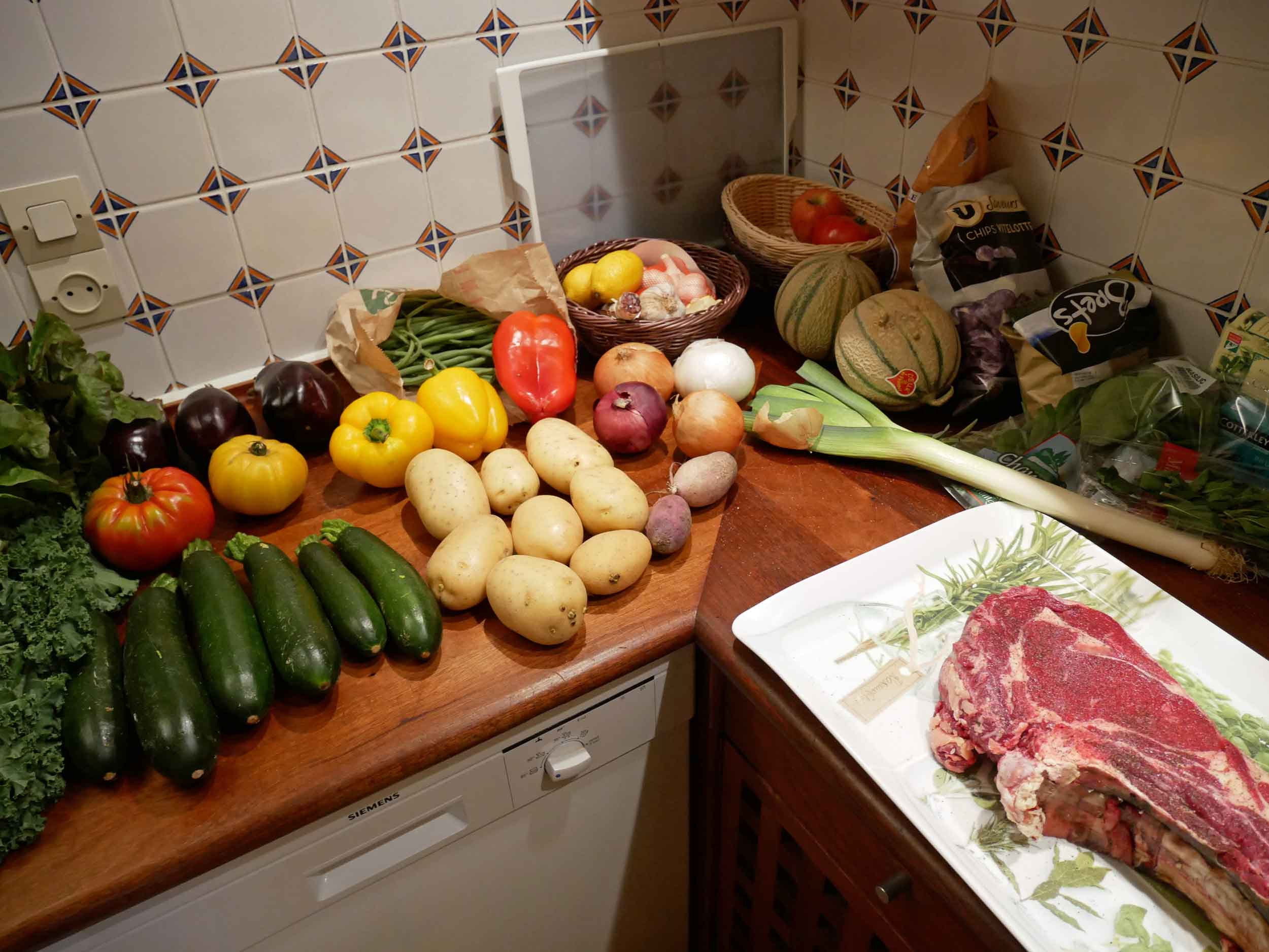 The day's finds – we still can't believe the size of that côte de bœuf!