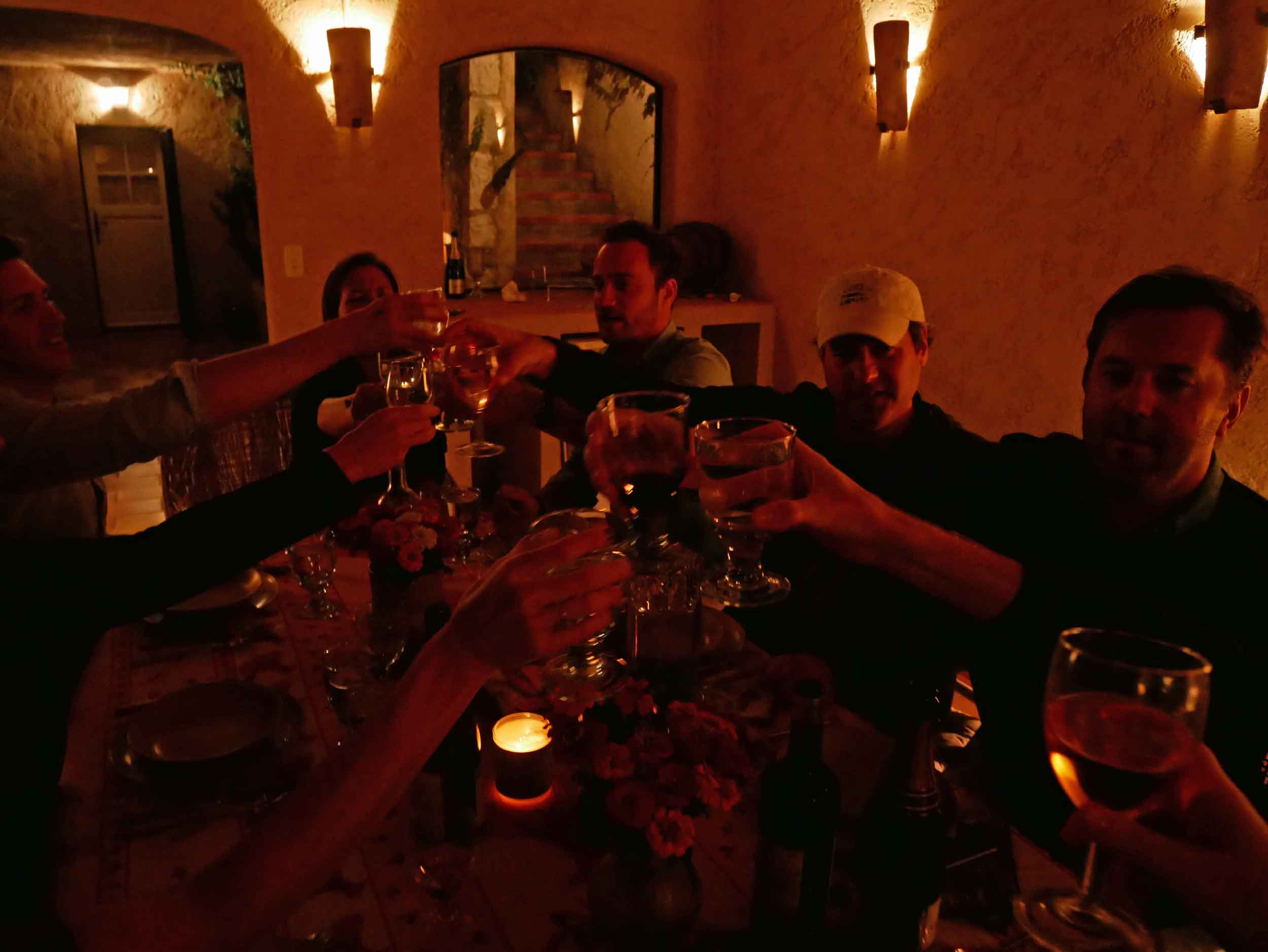 Santé!Toasting a gorgeous meal made together with friends.