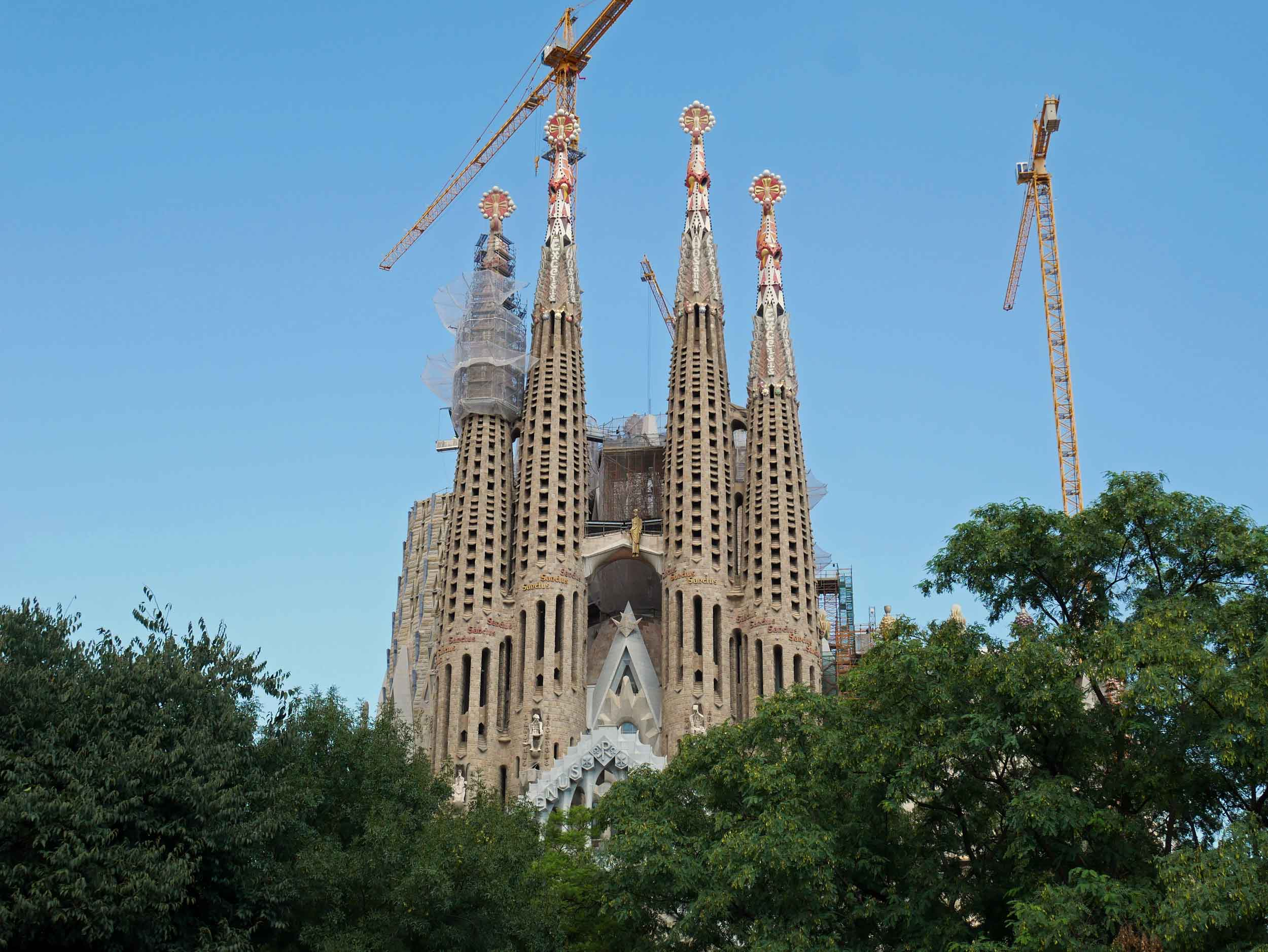 Spires of the awe-inspiring Sagrada Família, imagined by Antoni Gaudíback in 1882 with construction that continues even to this day.