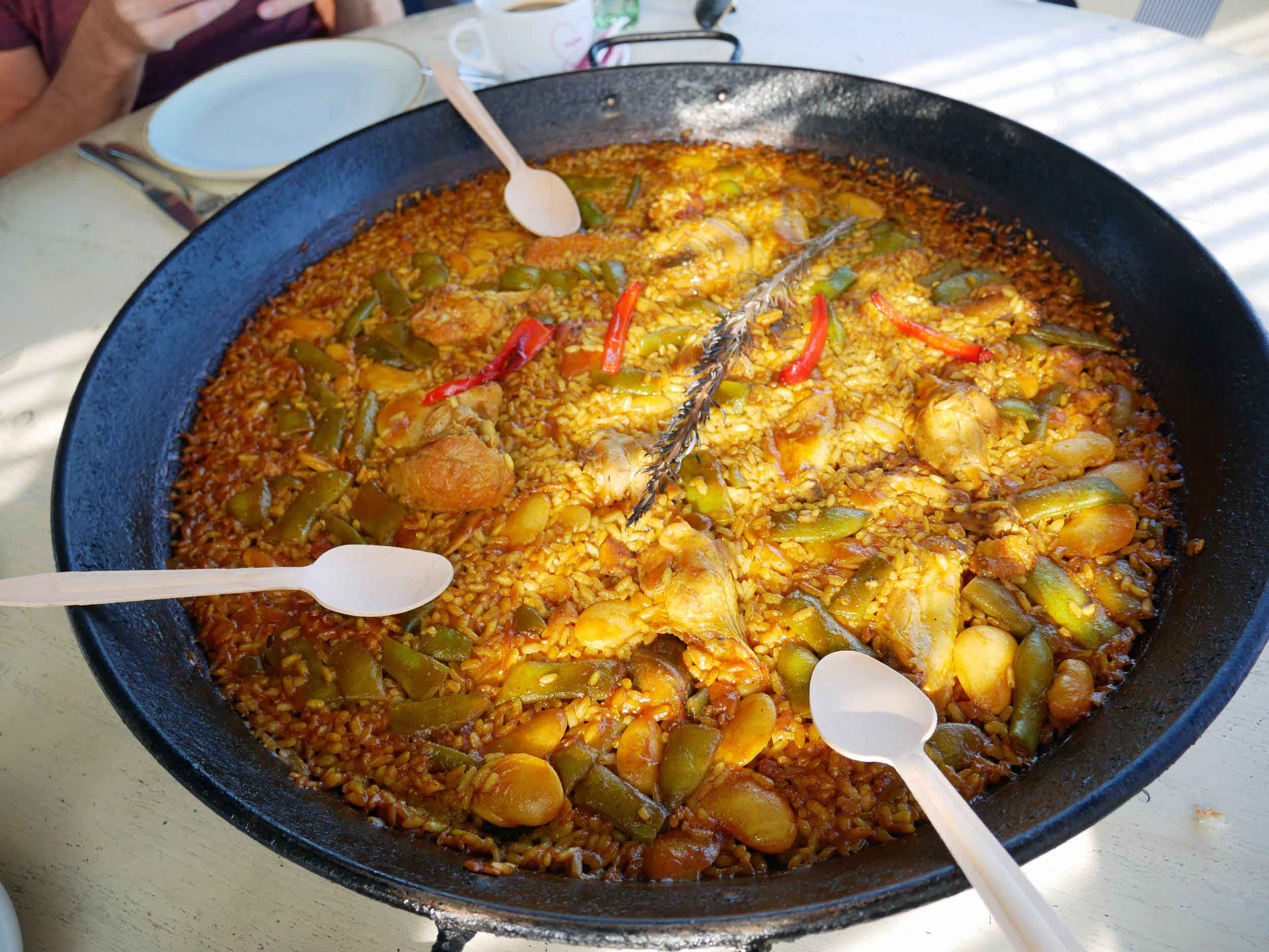 Valencia-style   paella  enjoyed with our friend Crystal at the fabulous seaside restaurant, Xiringuito Escriba.