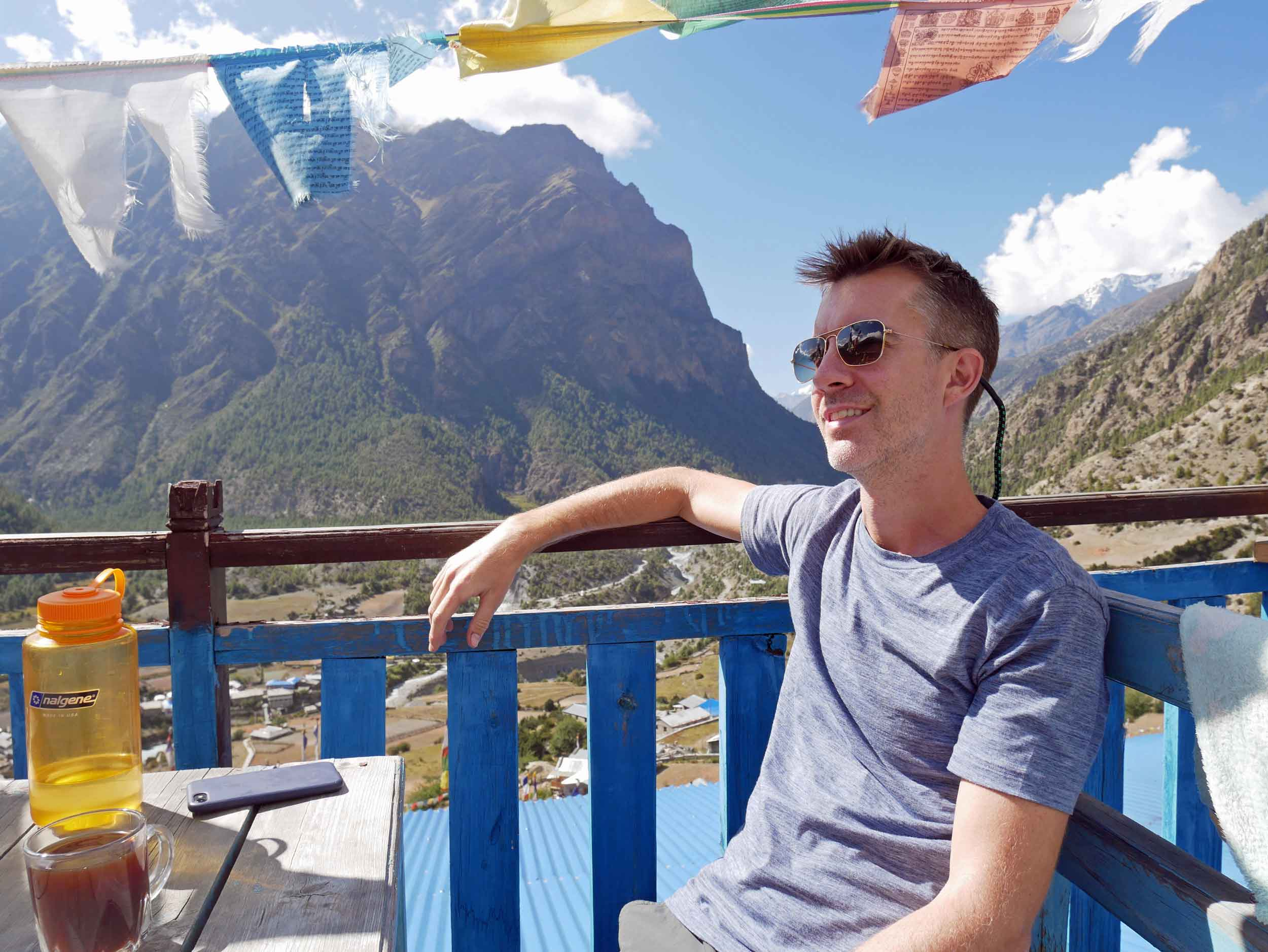 Trey taking in the view over lunch in Upper Pisang.