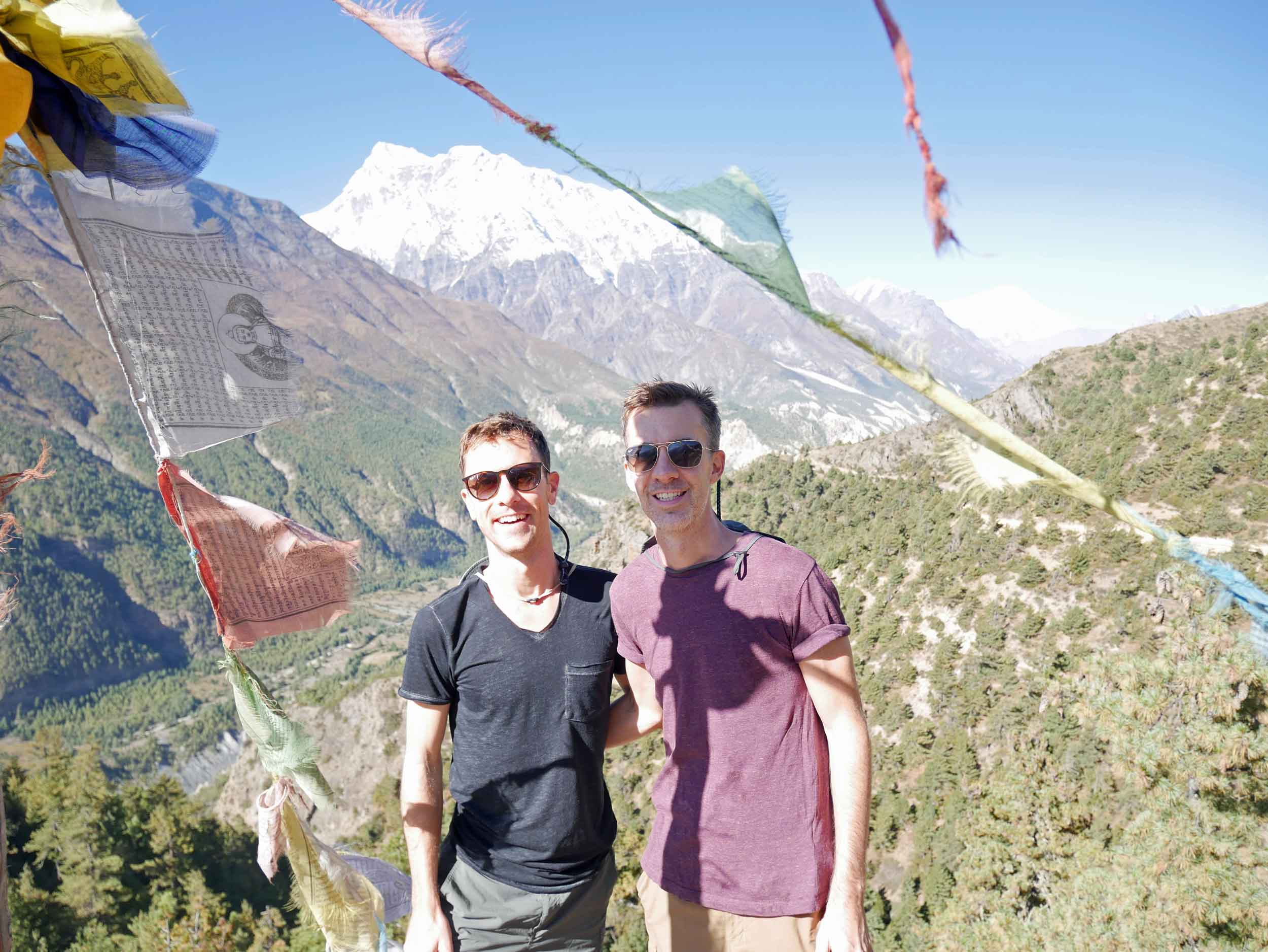 Tibetan Buddhist prayer flags adorn the mountainsides and holy sites throughout as well.