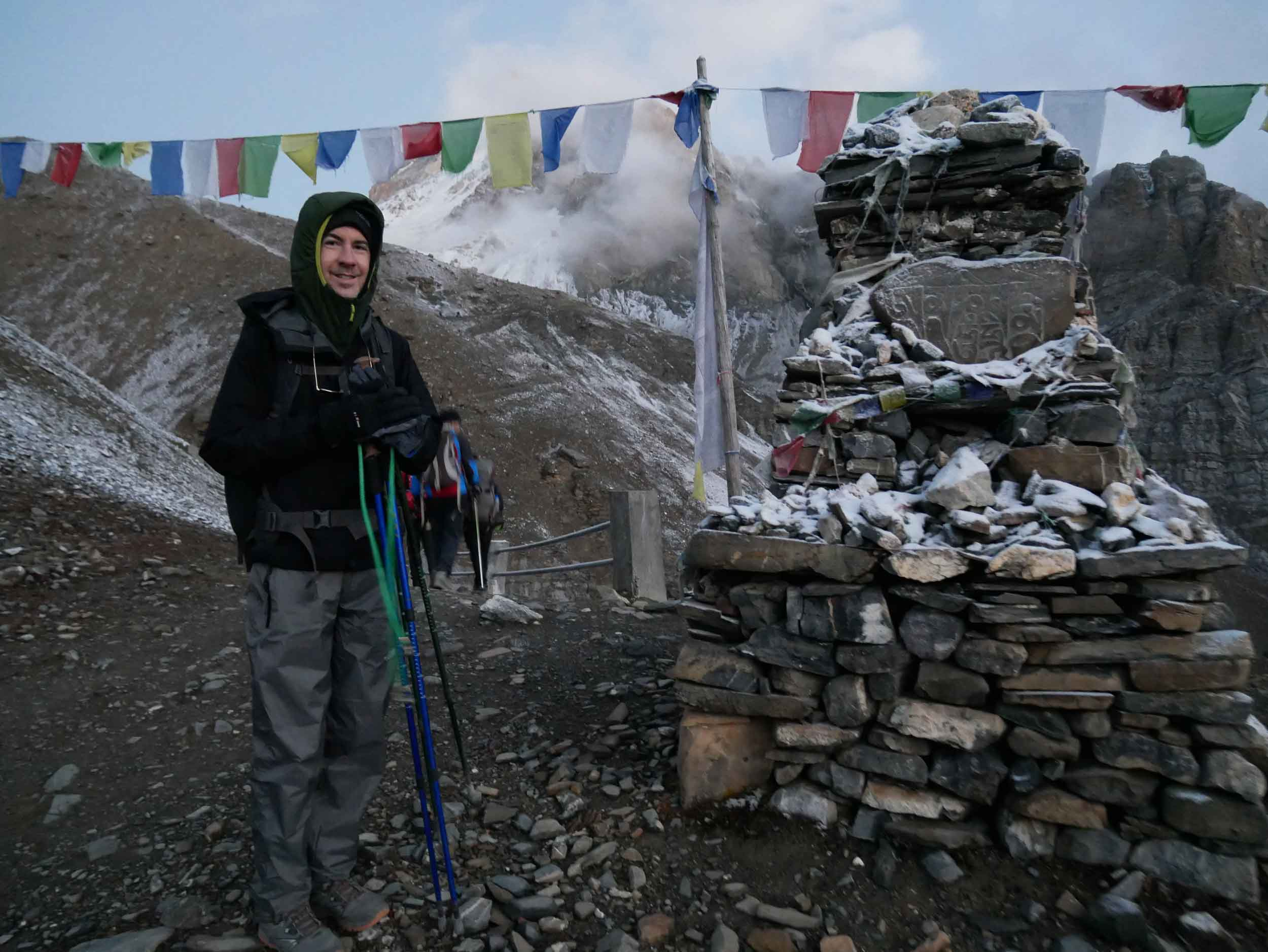 Bundled up for our pre-dawn ascent, we got one last offering of prayers at a  gompa  just above High Camp before crossing the Pass (Oct 9).
