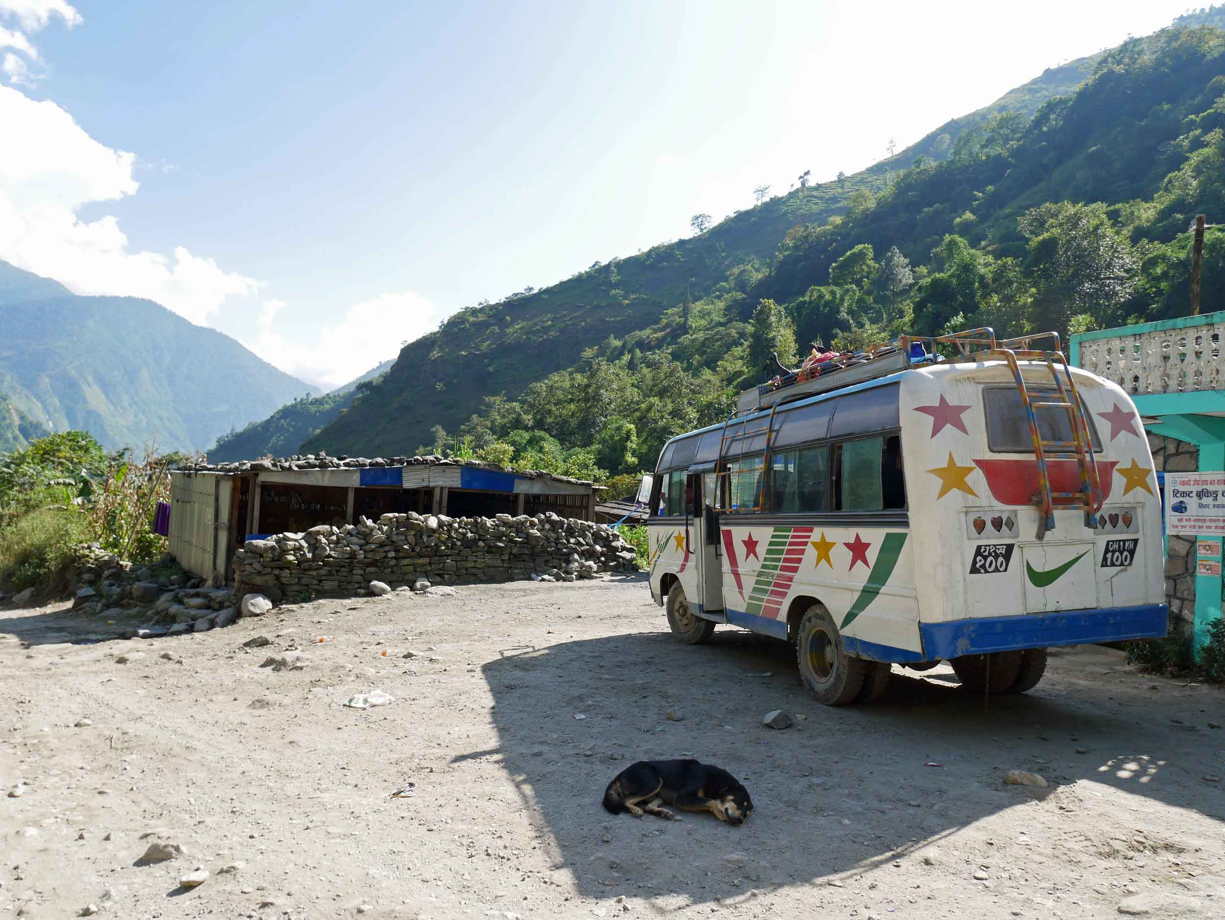 Our 17-hour return journey was largely spent on this shock-less artifact of a bus.We highly encourage you to take the short flight from Jomsom to Pokhara, instead.