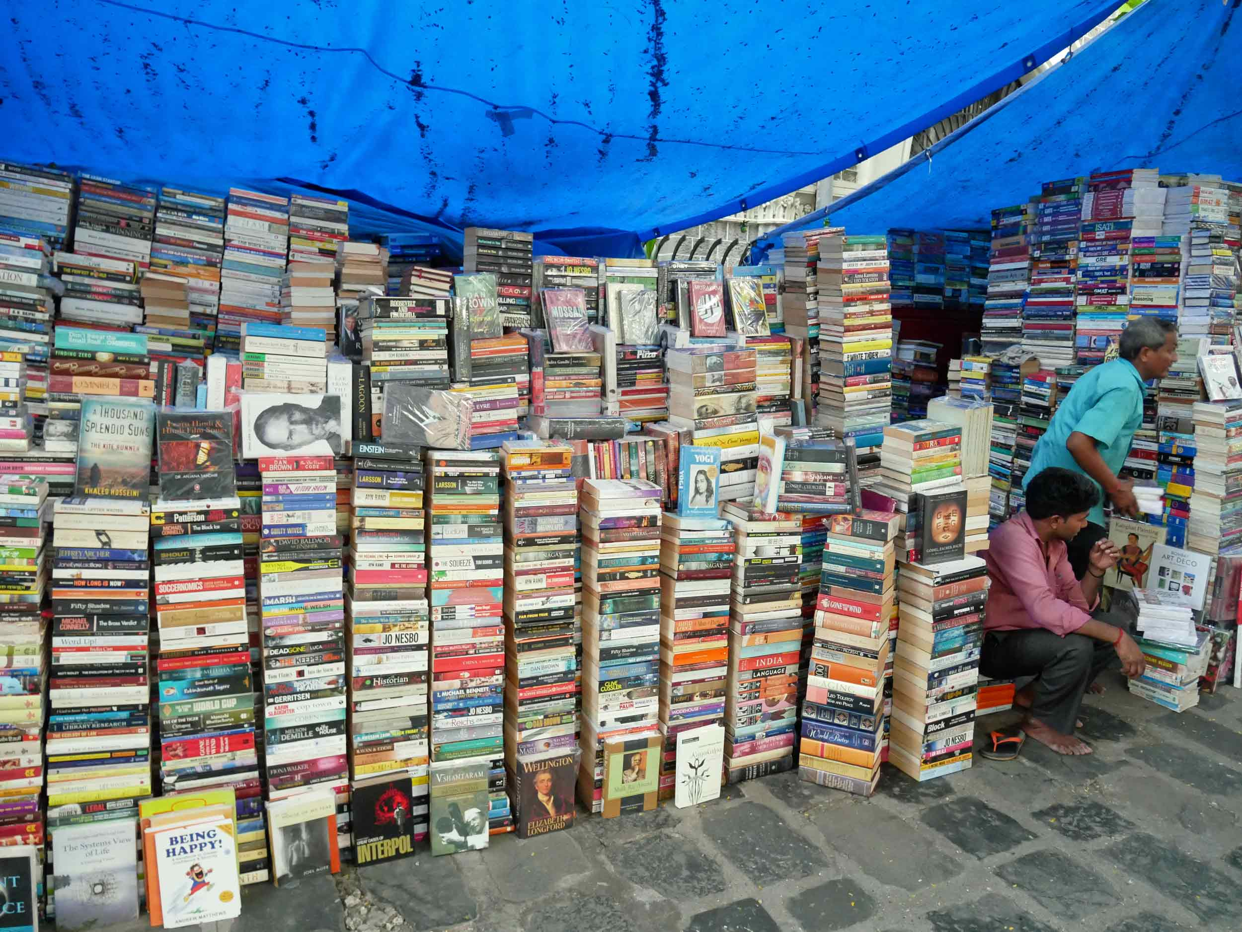 Vendor after vendor of books line the streets of this market in Colaba.