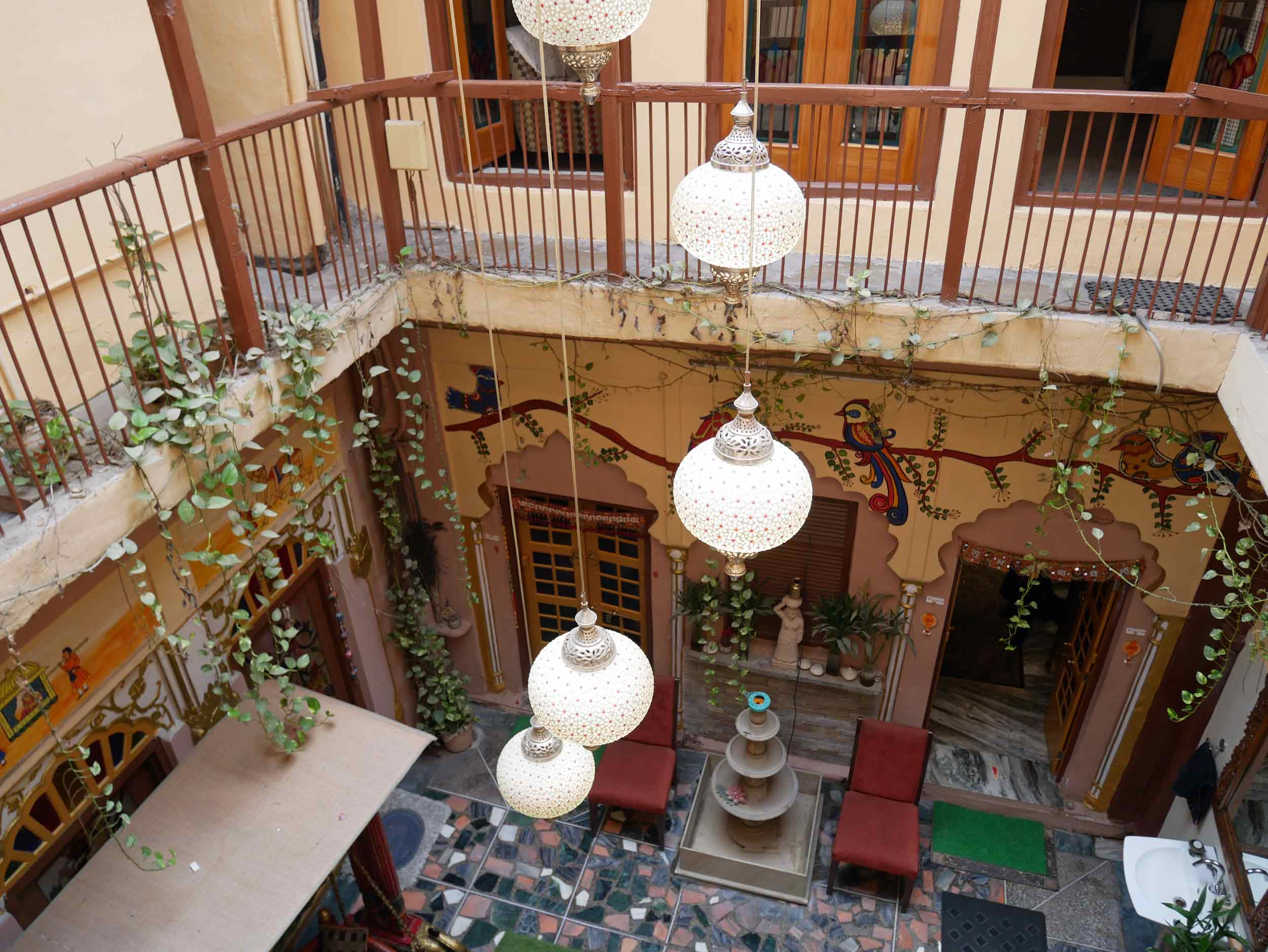 The beautifully refurbished interior courtyard of the Old Delhi  haveli  owned by our gracious host, Dhruv.