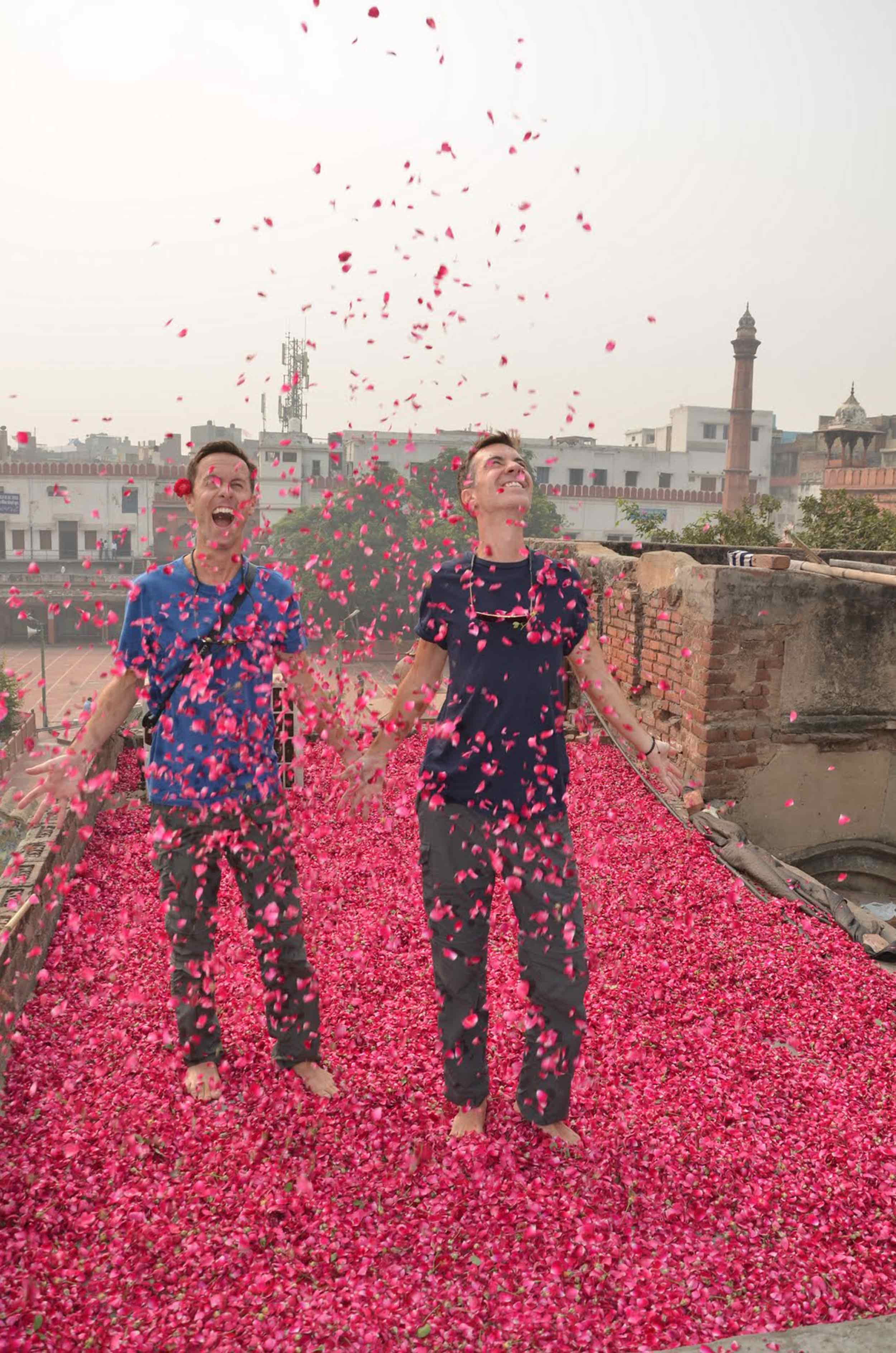 Climbing barefoot into the rose petal covered rooftop in Old Delhi was a magical moment for us both.