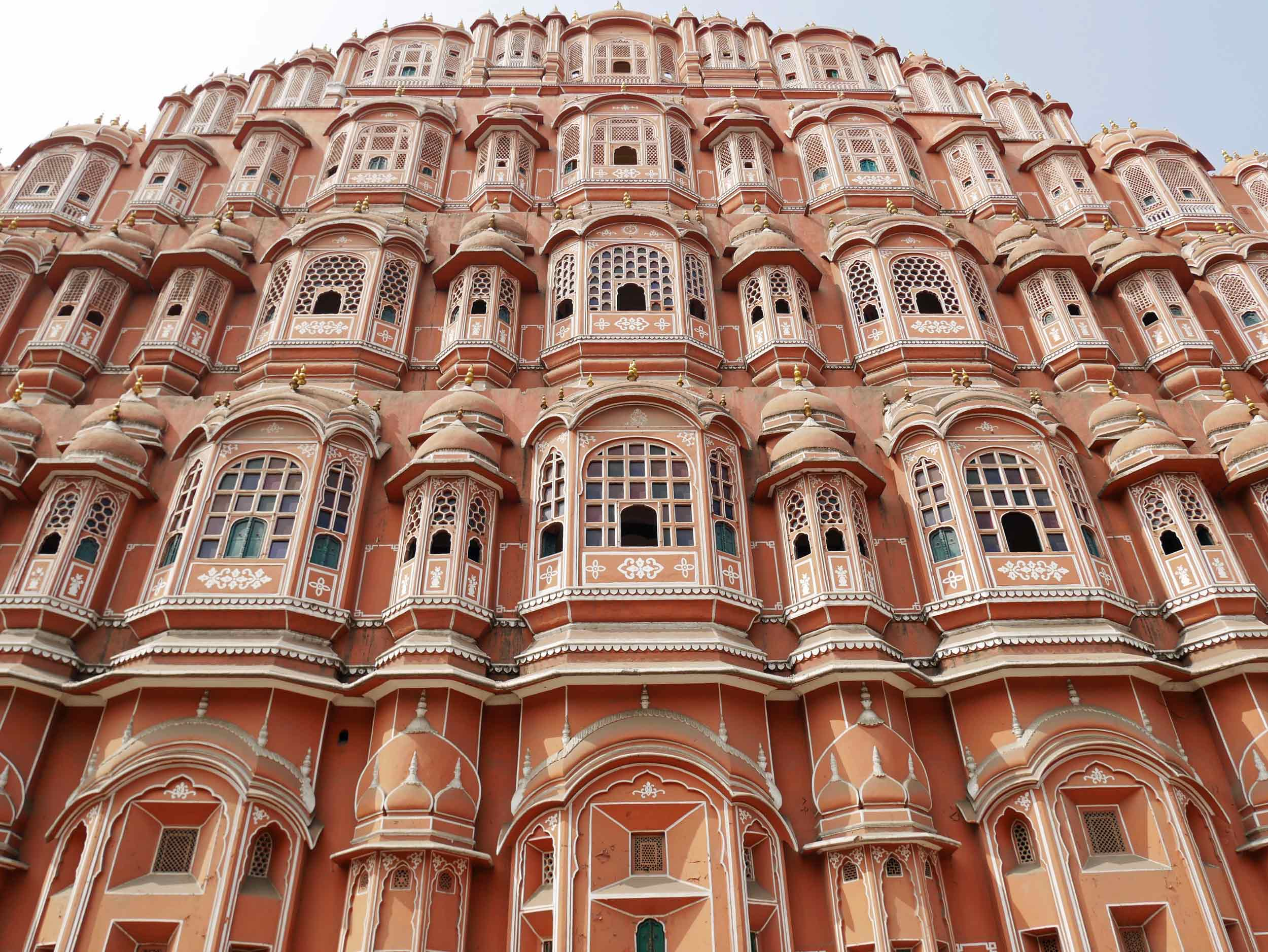 """Awa Mahal - aka the """"Palace of Winds"""" -in Jaipur, India, is so named because it was essentially a high screen wall built for the women of the royal household to observe street festivities in Jaipur while remaining unseen (Nov 10)."""