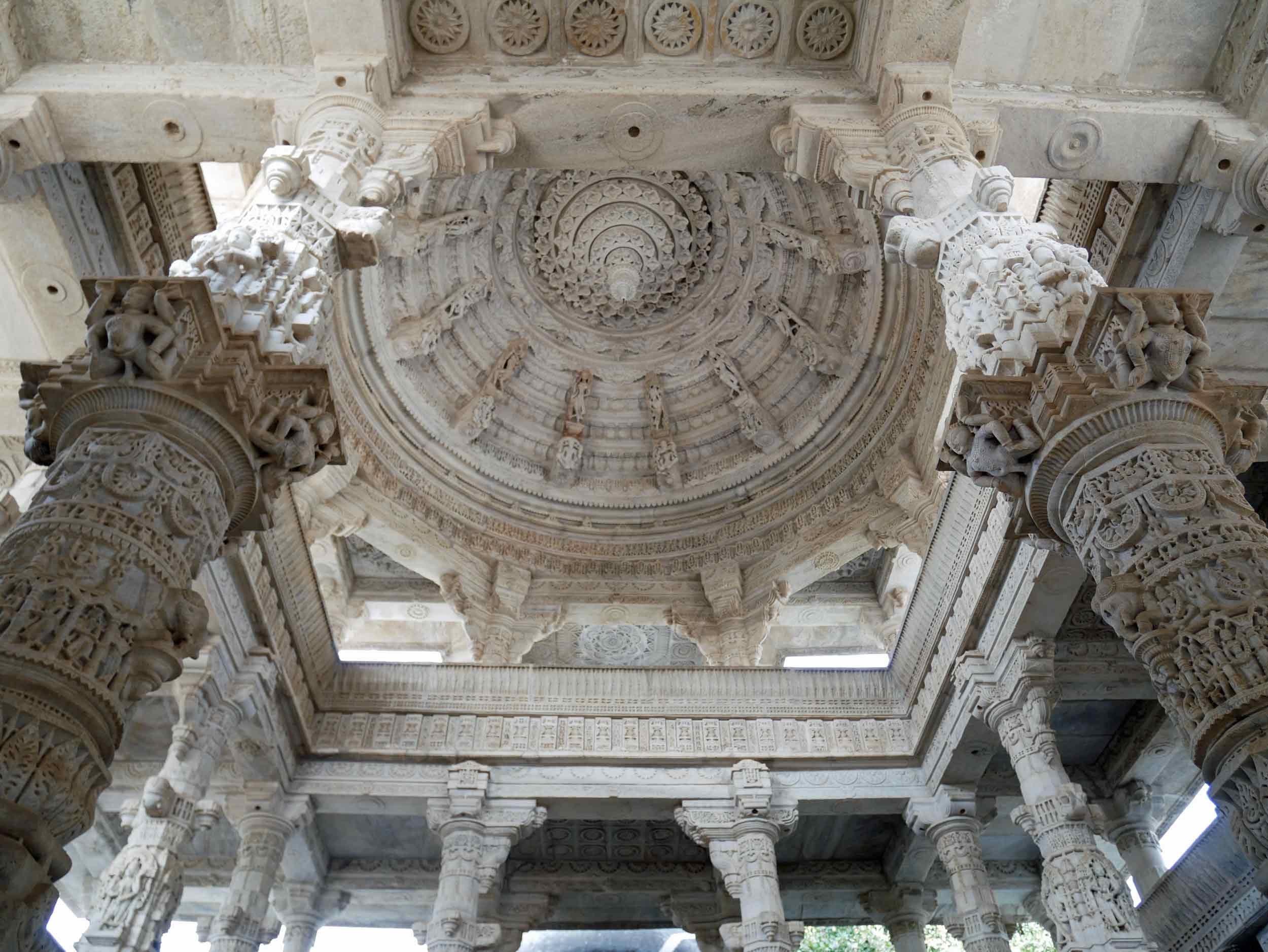Supporting the domes of the temple are more than 1,444 marble pillars - all uniquely carved with no two pillars the same.