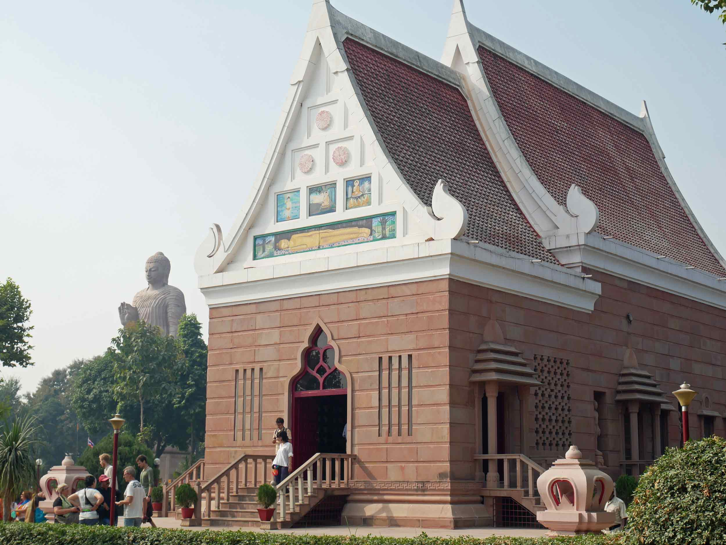 The Thai temple and giant Buddha statue at Sarnath, believed to be the holy site of the Buddha's first teaching after receiving enlightenment (Nov 17).