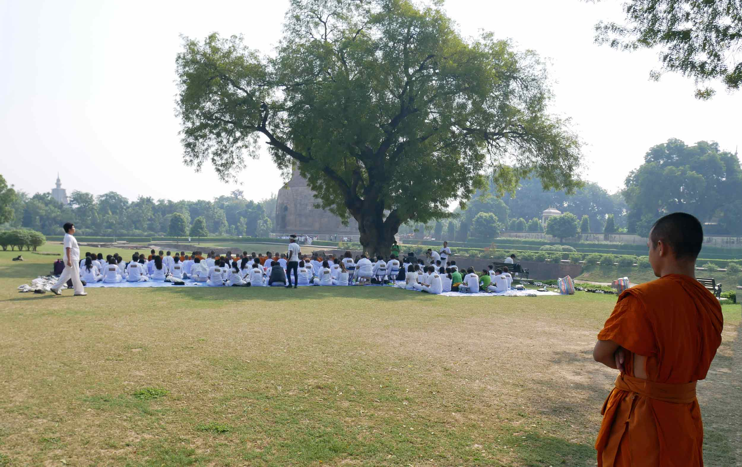Many Buddhist devotees make the pilgrimage to Sarnath from all over the world to listen to teachings on this holy site.