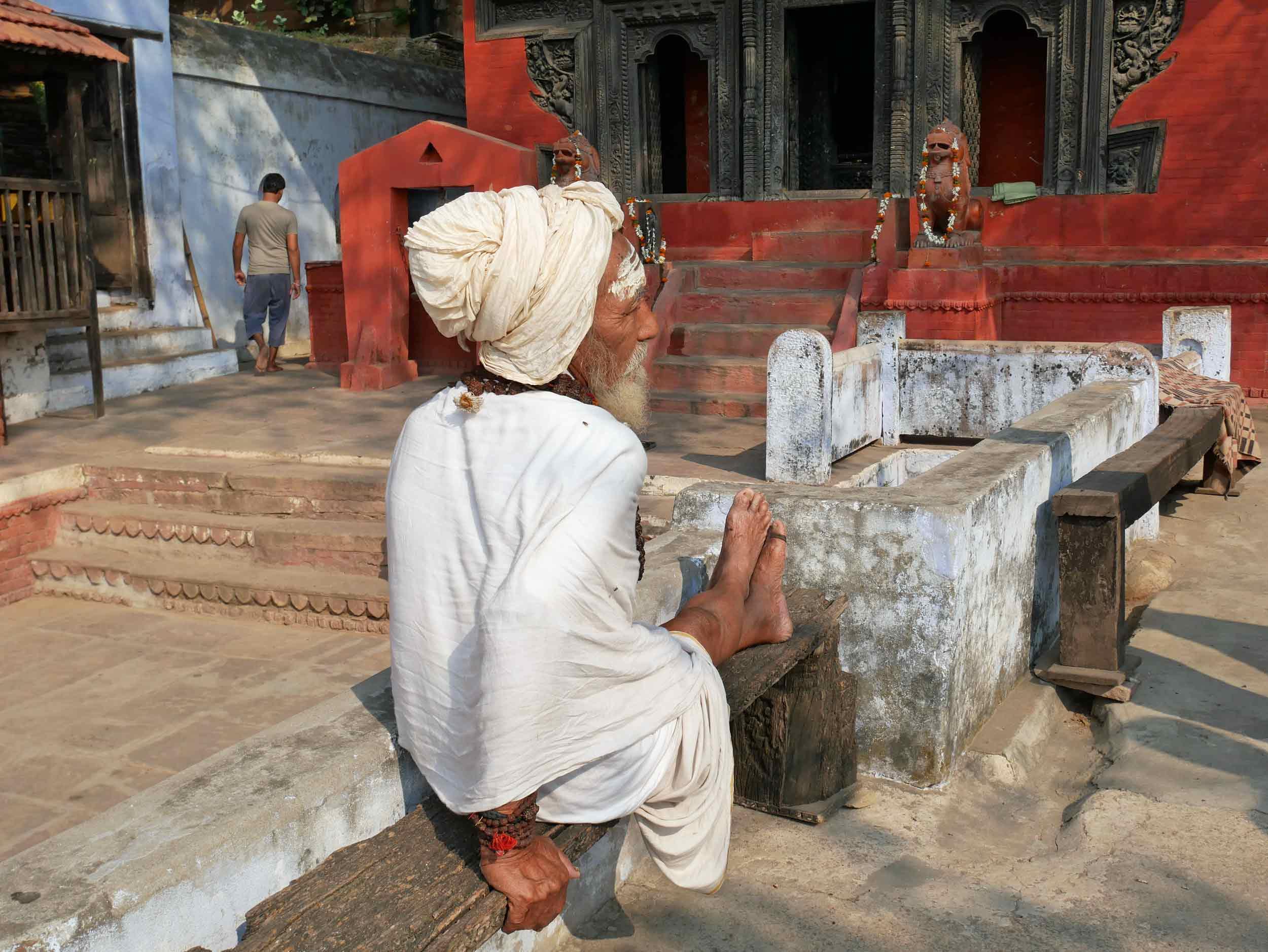 Holy men, or Sadus,hang out everywhere in Varanasi!