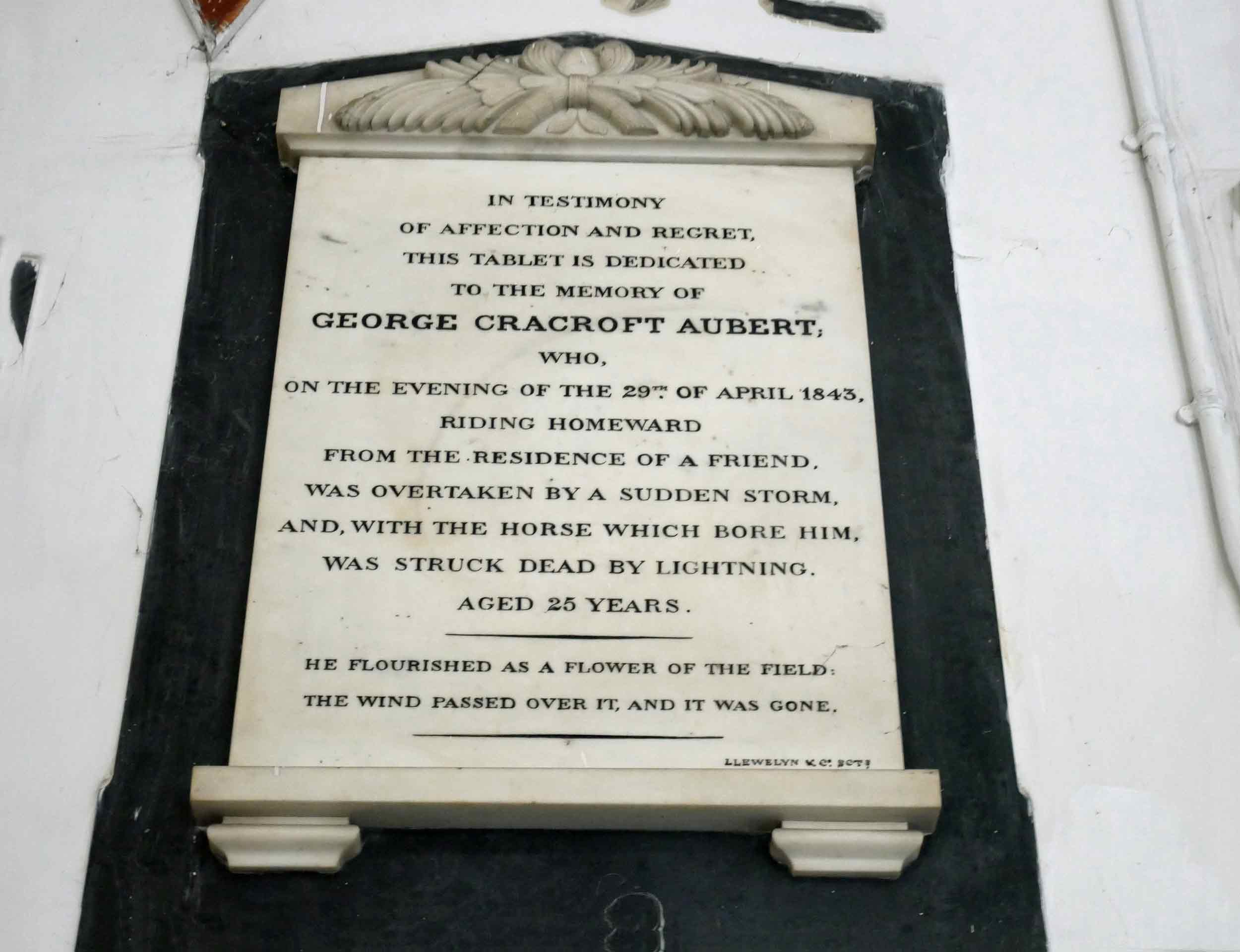 Plaque in St. John's Church, one of the first buildings erected by the East India Co.,speaks to a parishioner's untimely and unfortunate demise (Nov 20).