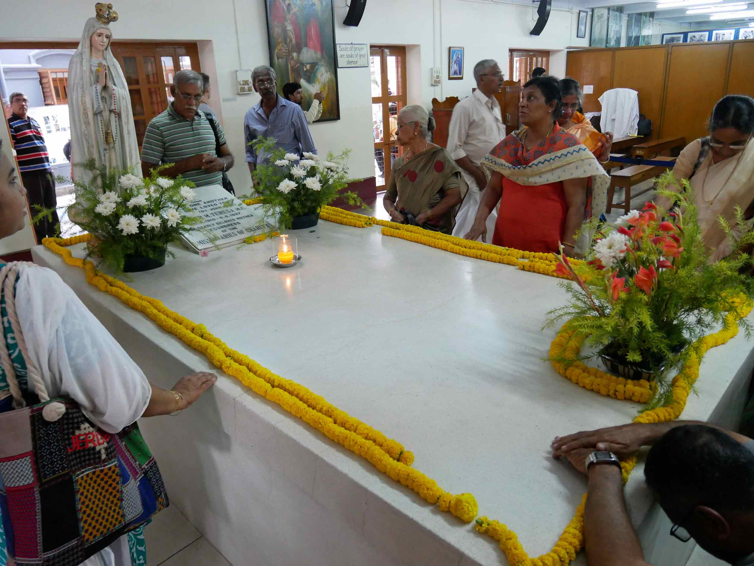 Visitors come from all over the world to pay their respects and honor the great deeds of Saint Teresa of Calcutta.