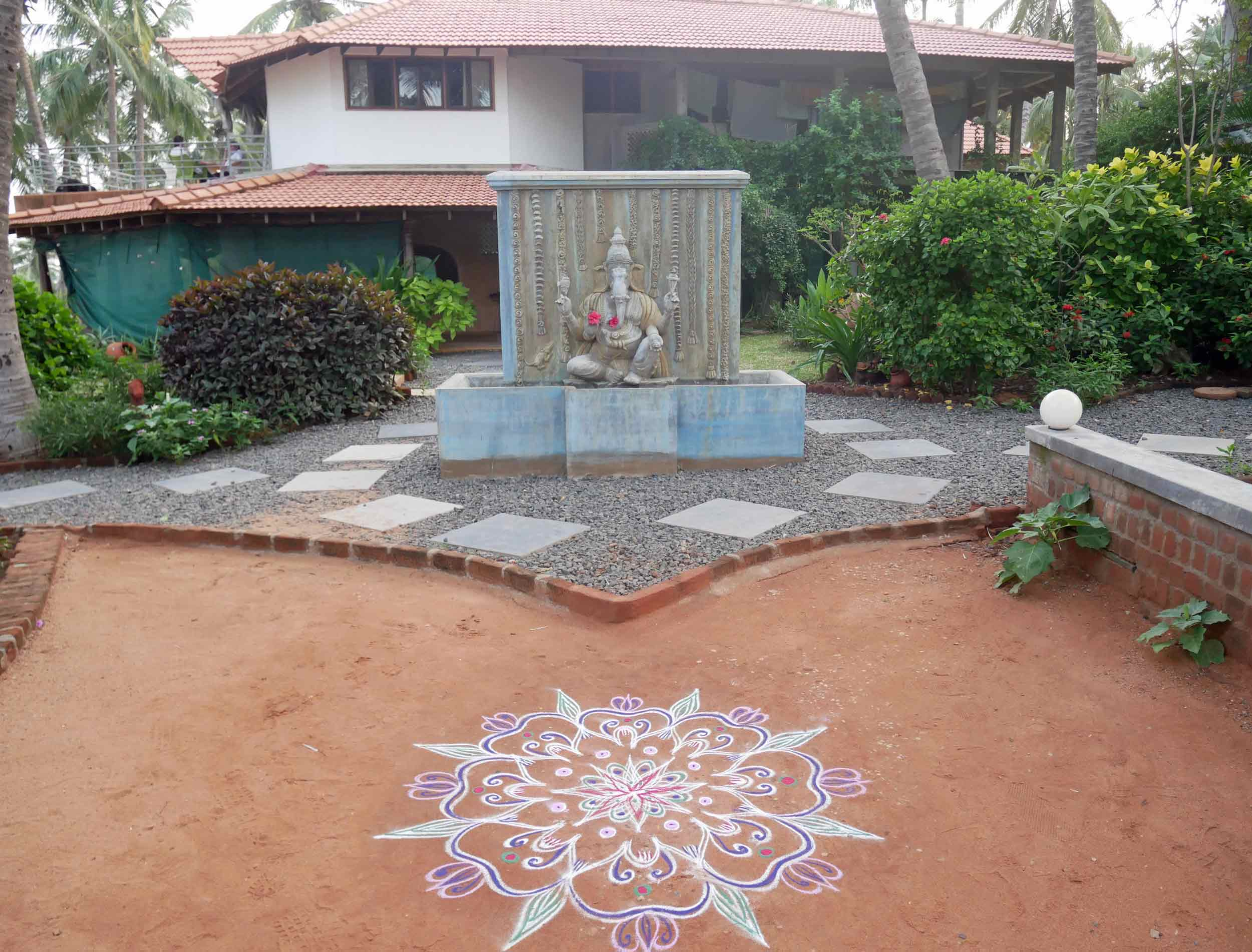 The delightful Samarpan Guesthouse and a beautiful mandala that welcomed us at the entrance.