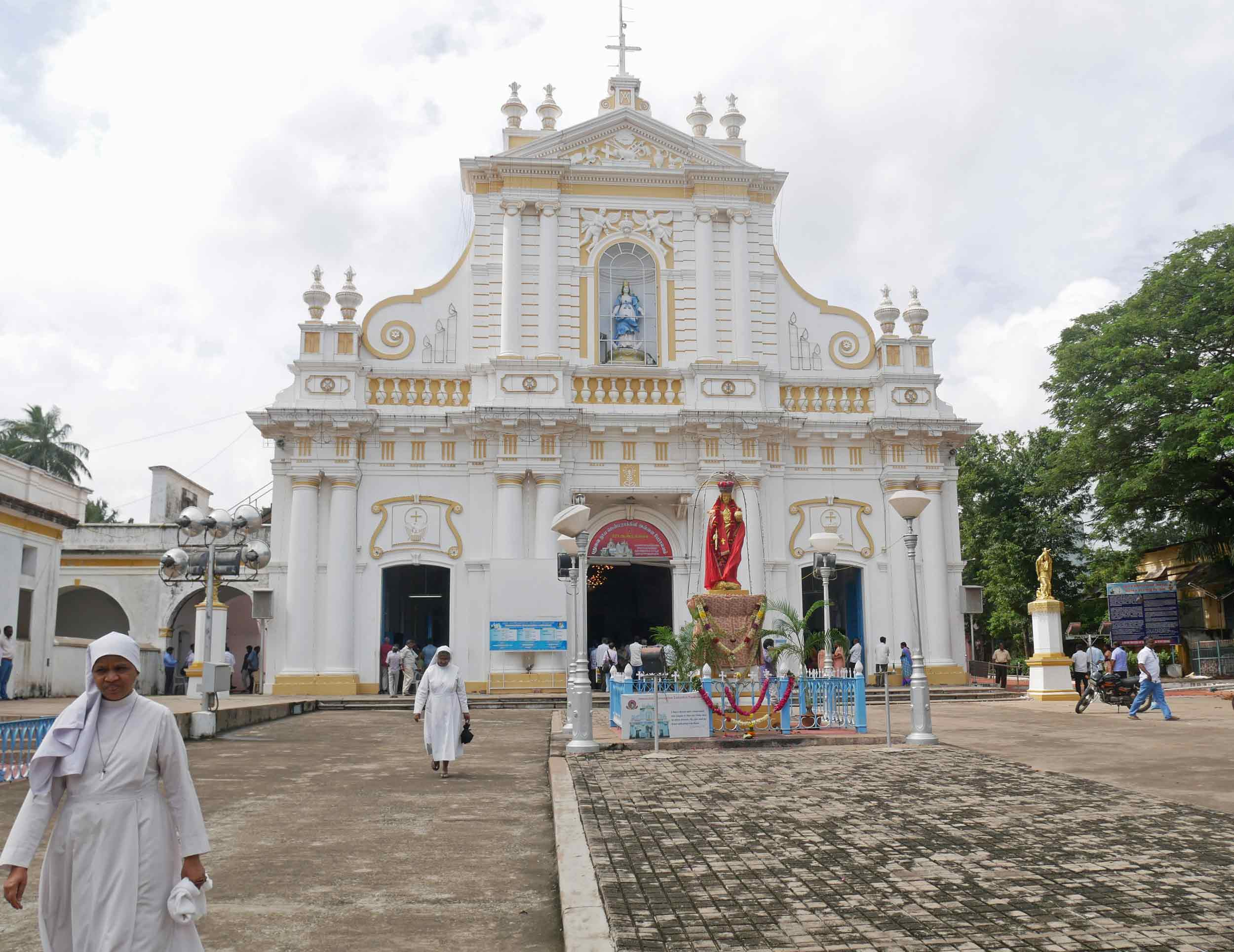 The busy Immaculate Conception Cathedral in Pondicherry happened to be having sermon by the Archbishop himself.